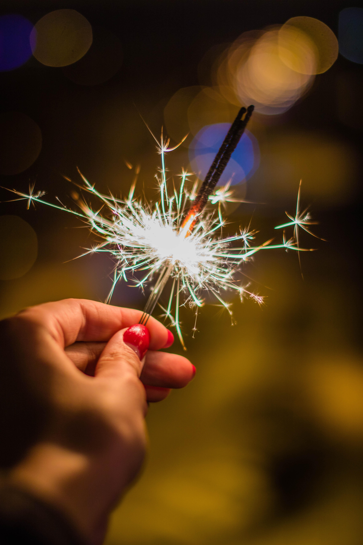 Person Holding Gray Firework, Blur, Night, Nail polish, Luminescence, HQ Photo