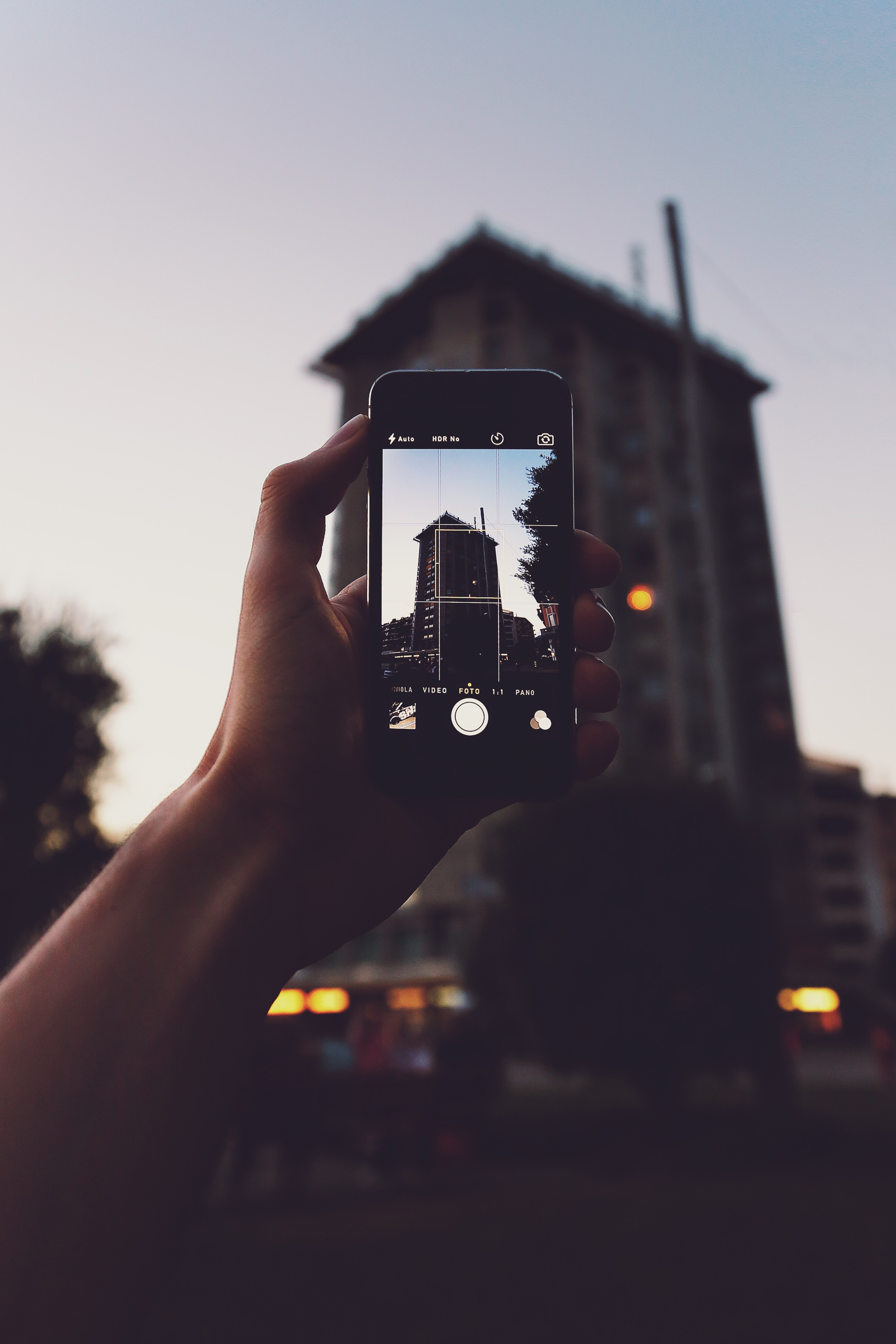 Person Holding Iphone Taking a Photo of Building, Architecture, Mobile phone, Trees, Touchscreen, HQ Photo