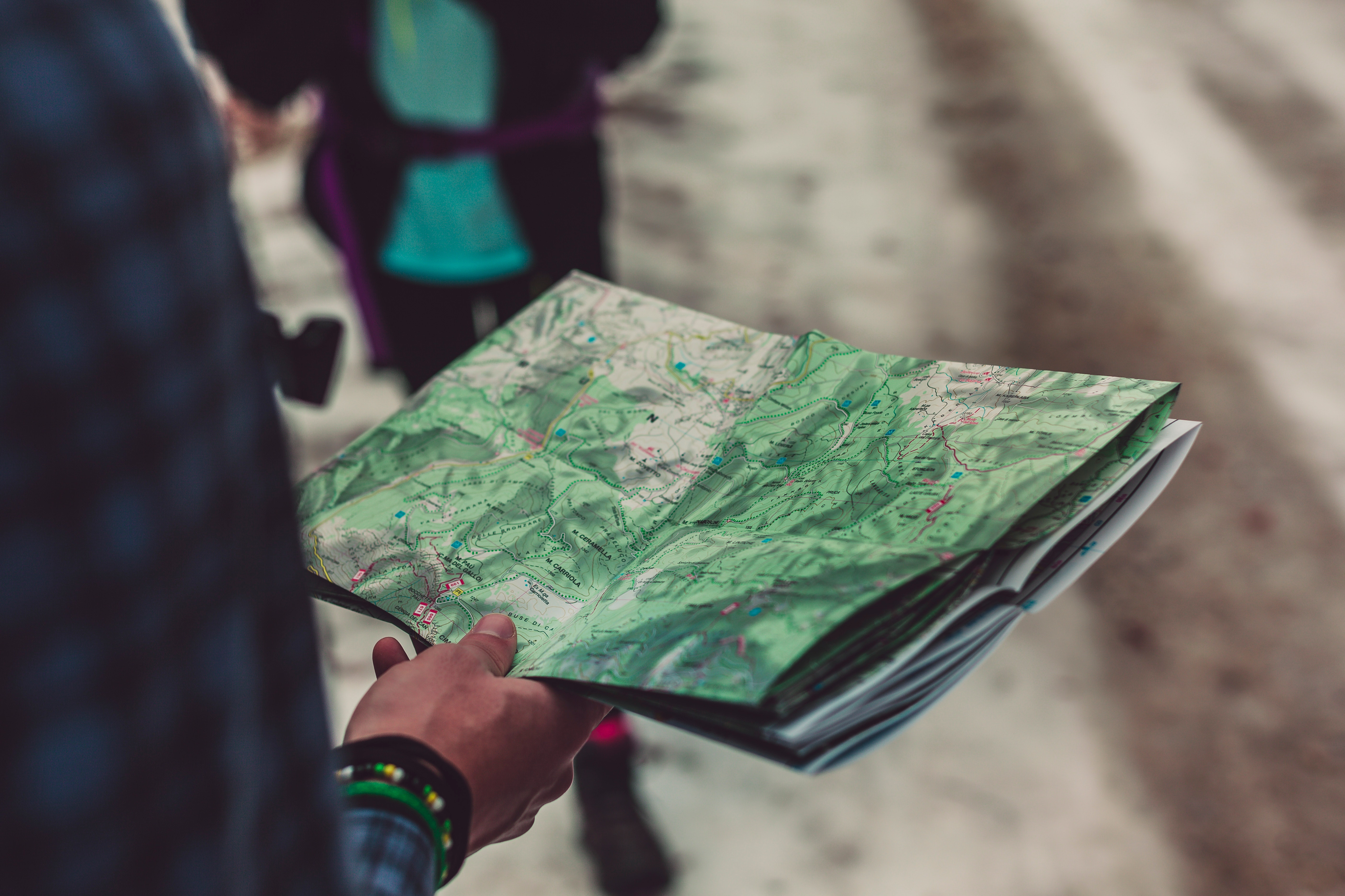 Person Holding Outlined Map, Blur, Colors, Folded, Hand, HQ Photo