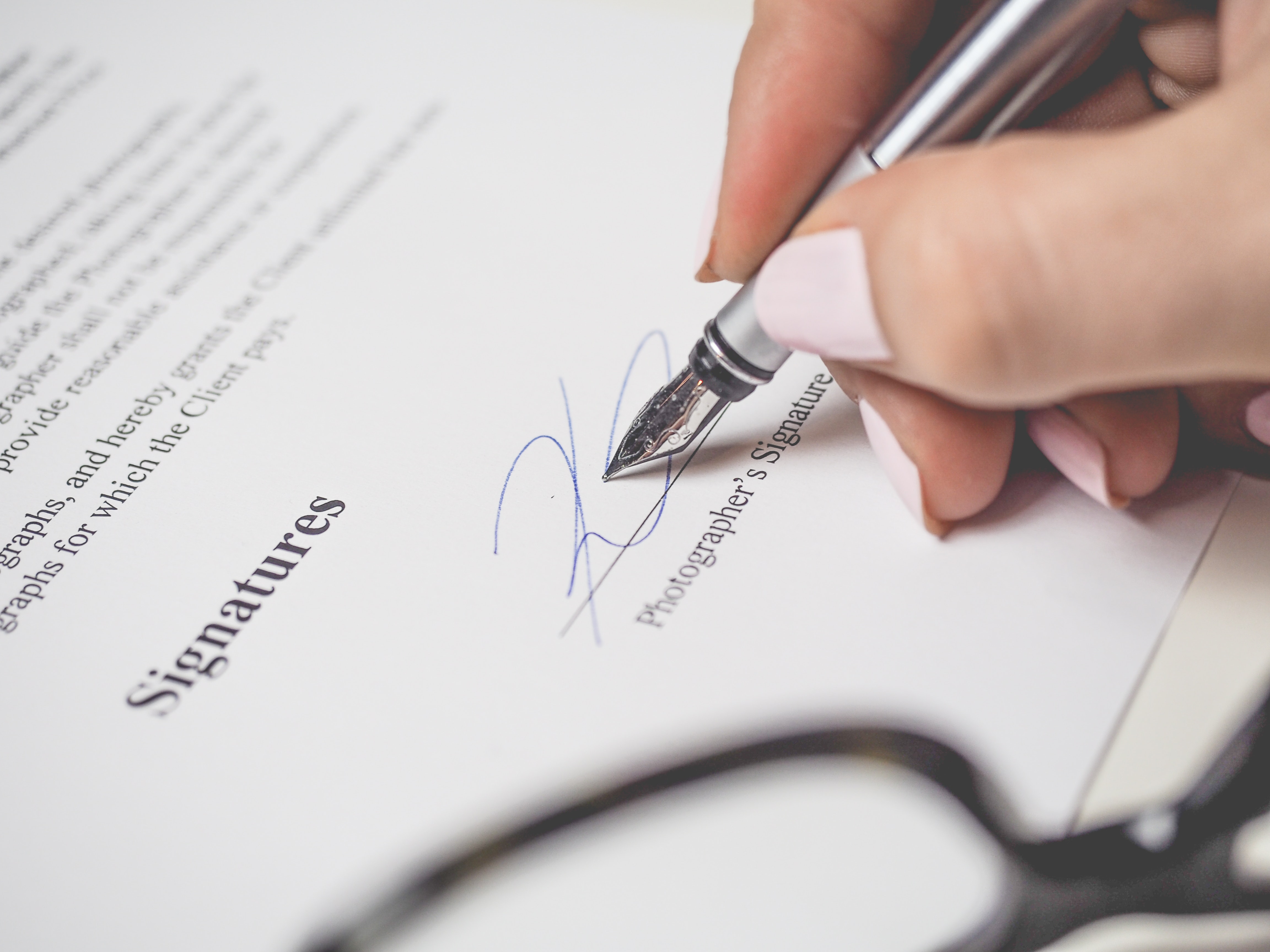 Person Holding Silver Pen Signing Photographers Signature, Agreement, Nails, Write, Work, HQ Photo