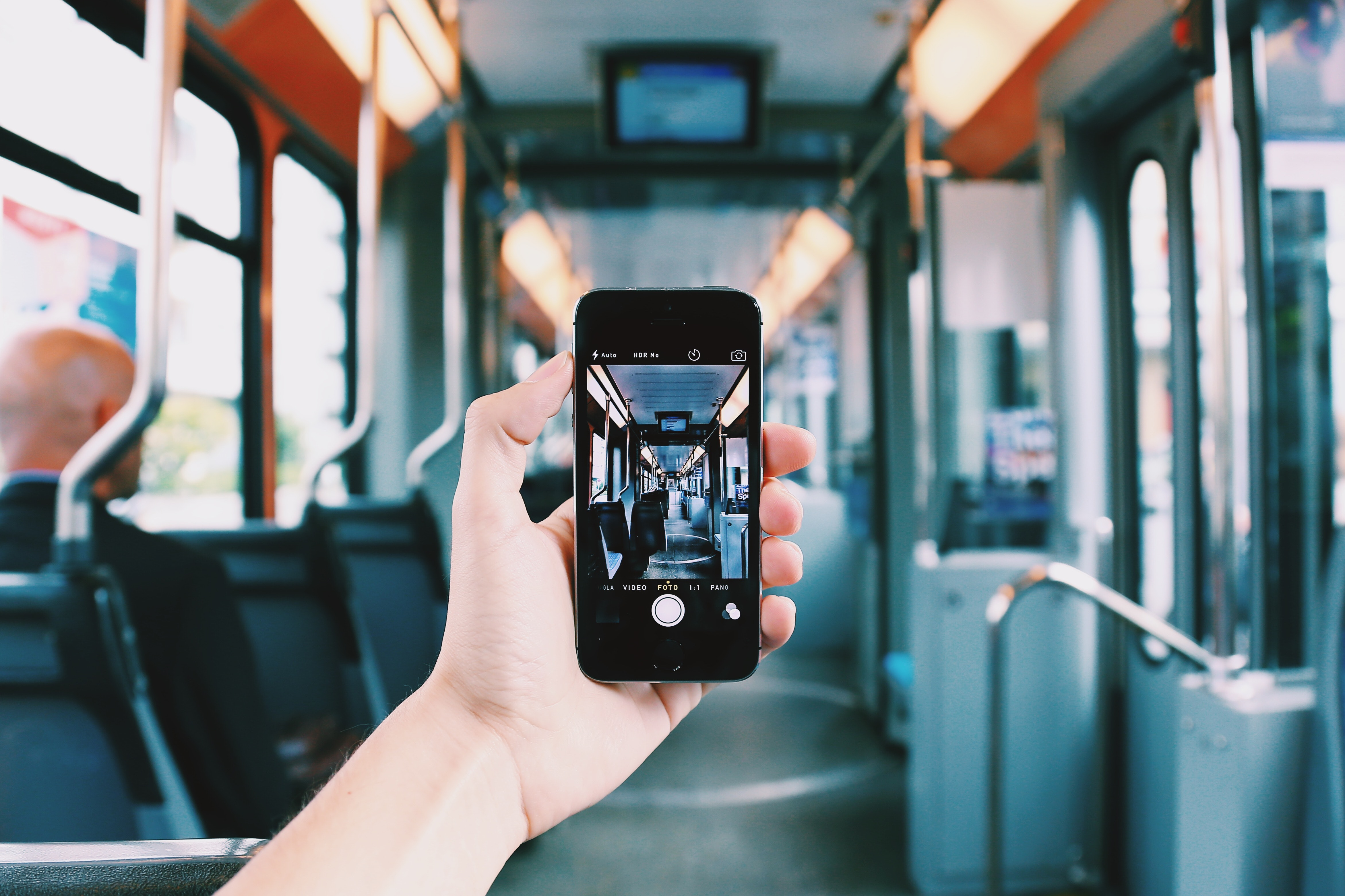 Person Holding Smartphone, Cellphone, Mobile phone, Transportation system, Train, HQ Photo