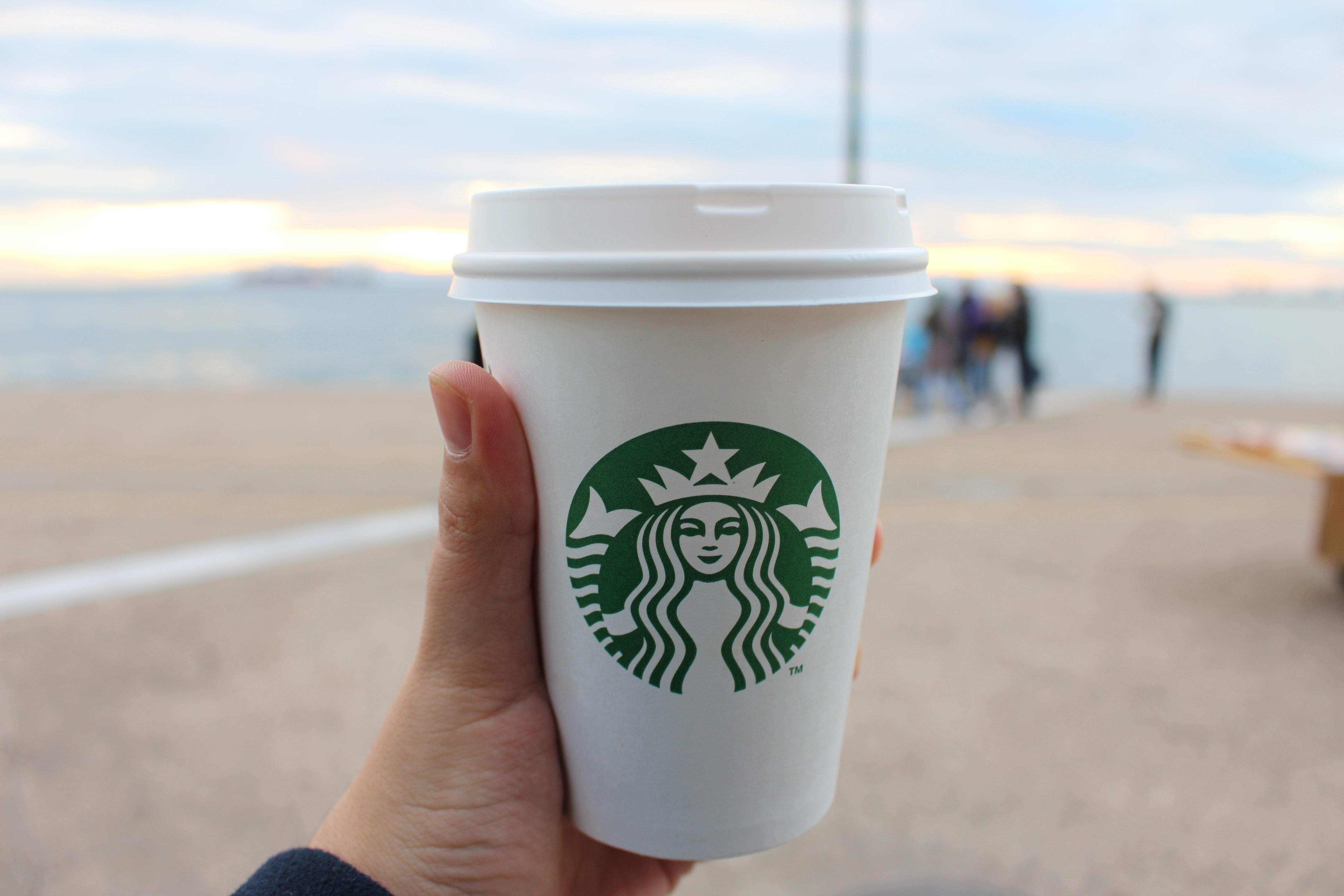 Person Holding Star Buck Plastic Cup, Blur, Mug, Sky, Sea, HQ Photo