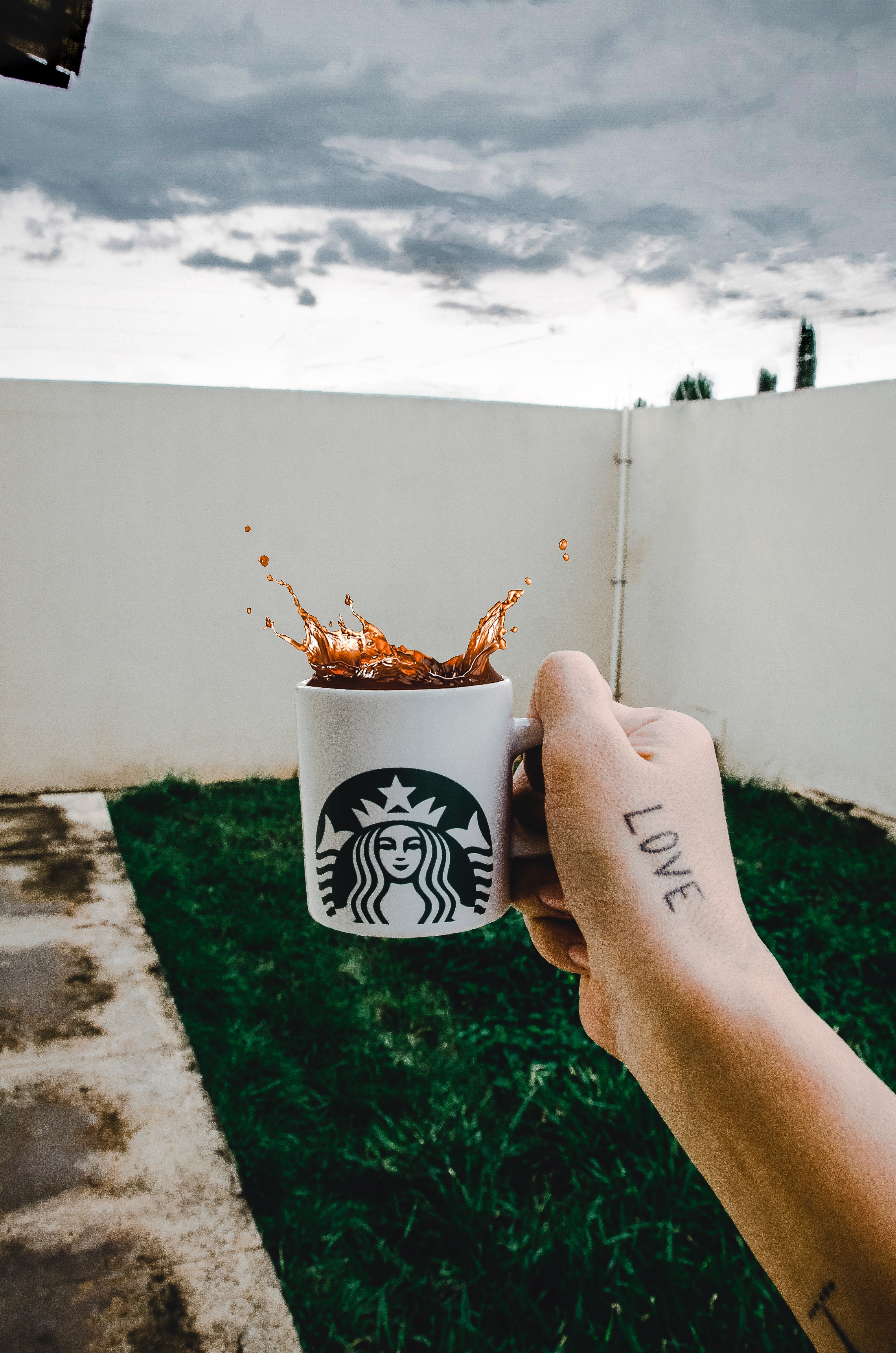 Person Holding Starbucks Cup With Brown Beverage, Grass, Starbucks, Person, Outdoors, HQ Photo
