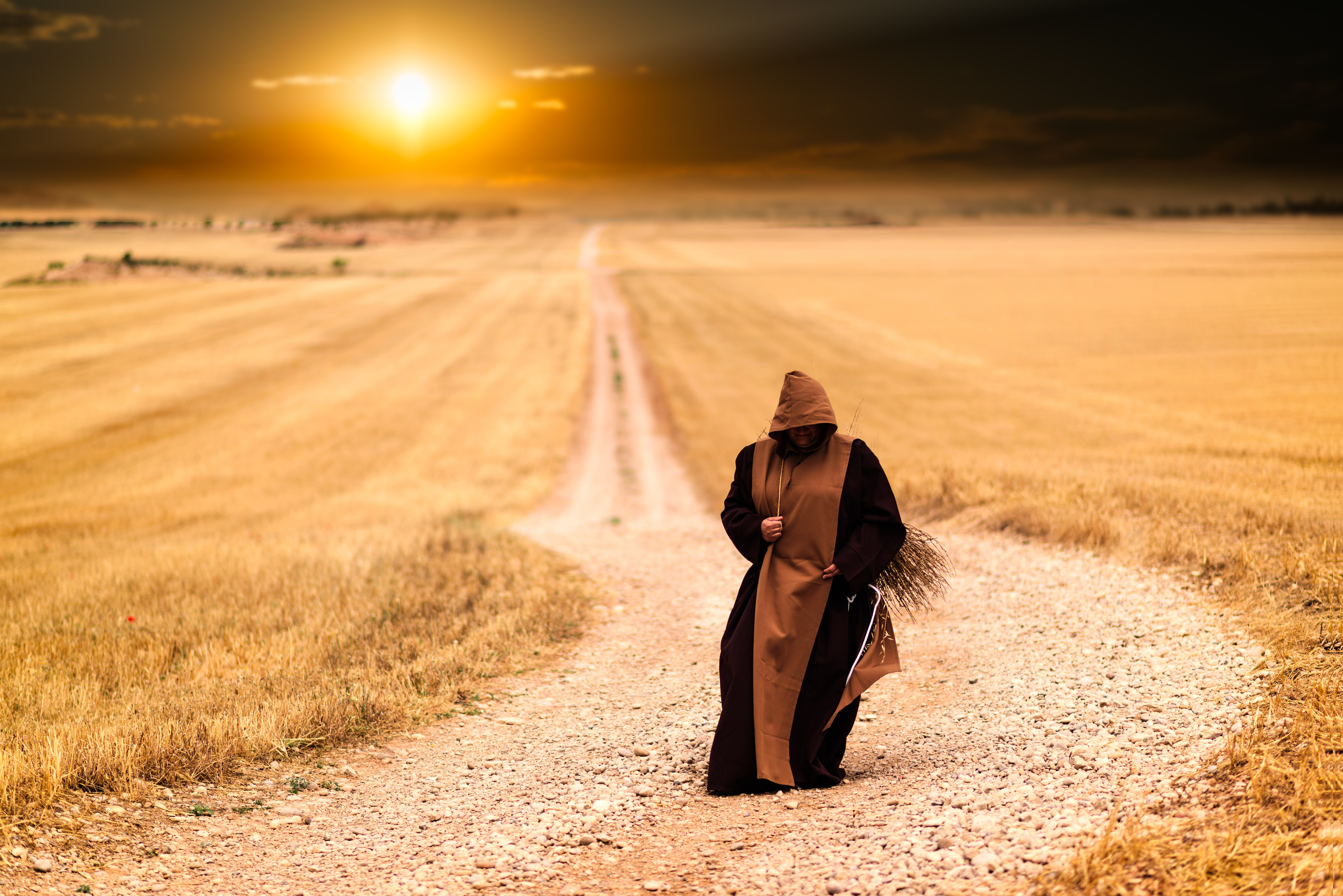 Person in brown and black robe in the middle of the road photo