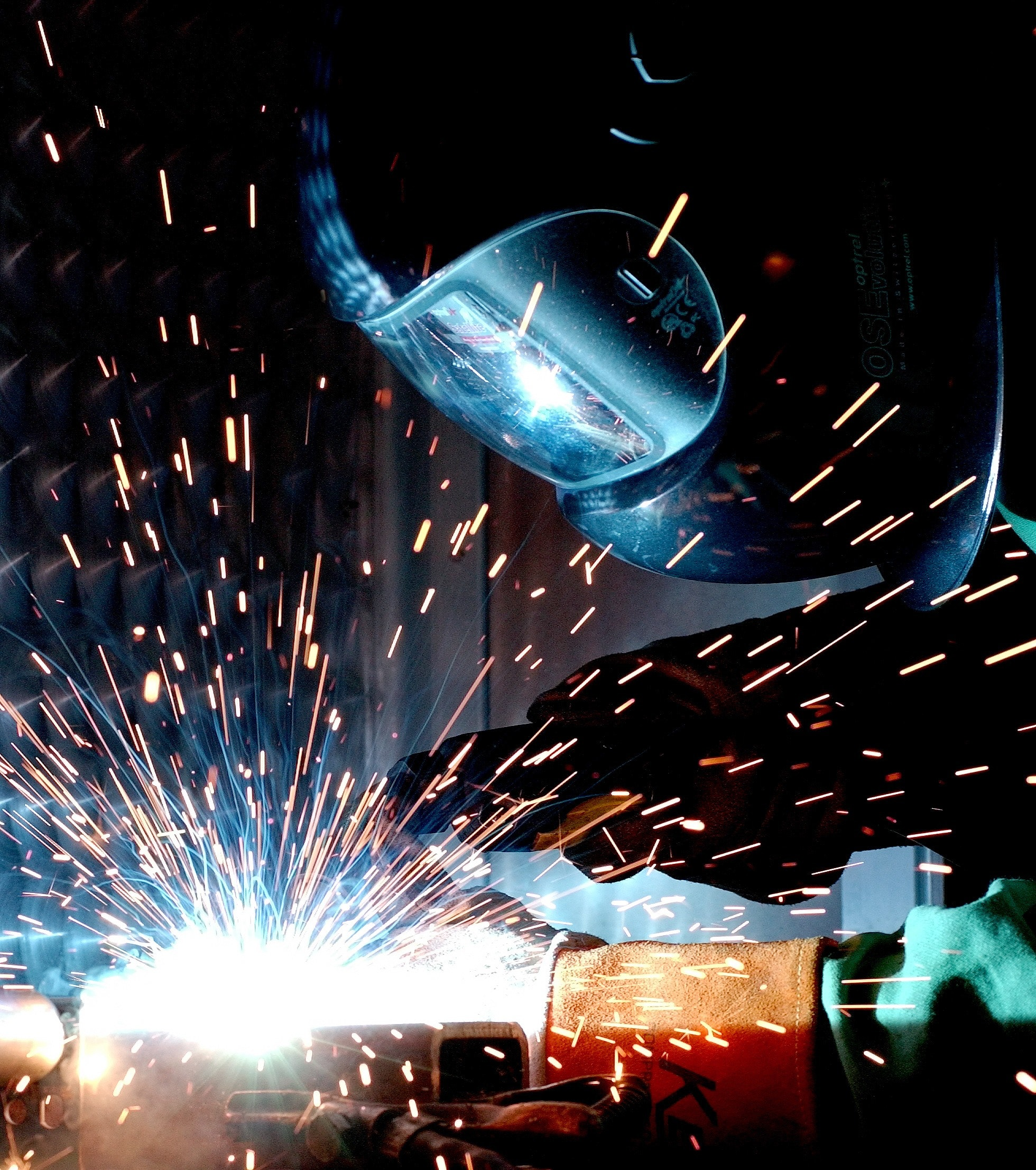 Person in Welding Mask While Welding a Metal Bar, Person, Sparks, Welder, Welding, HQ Photo
