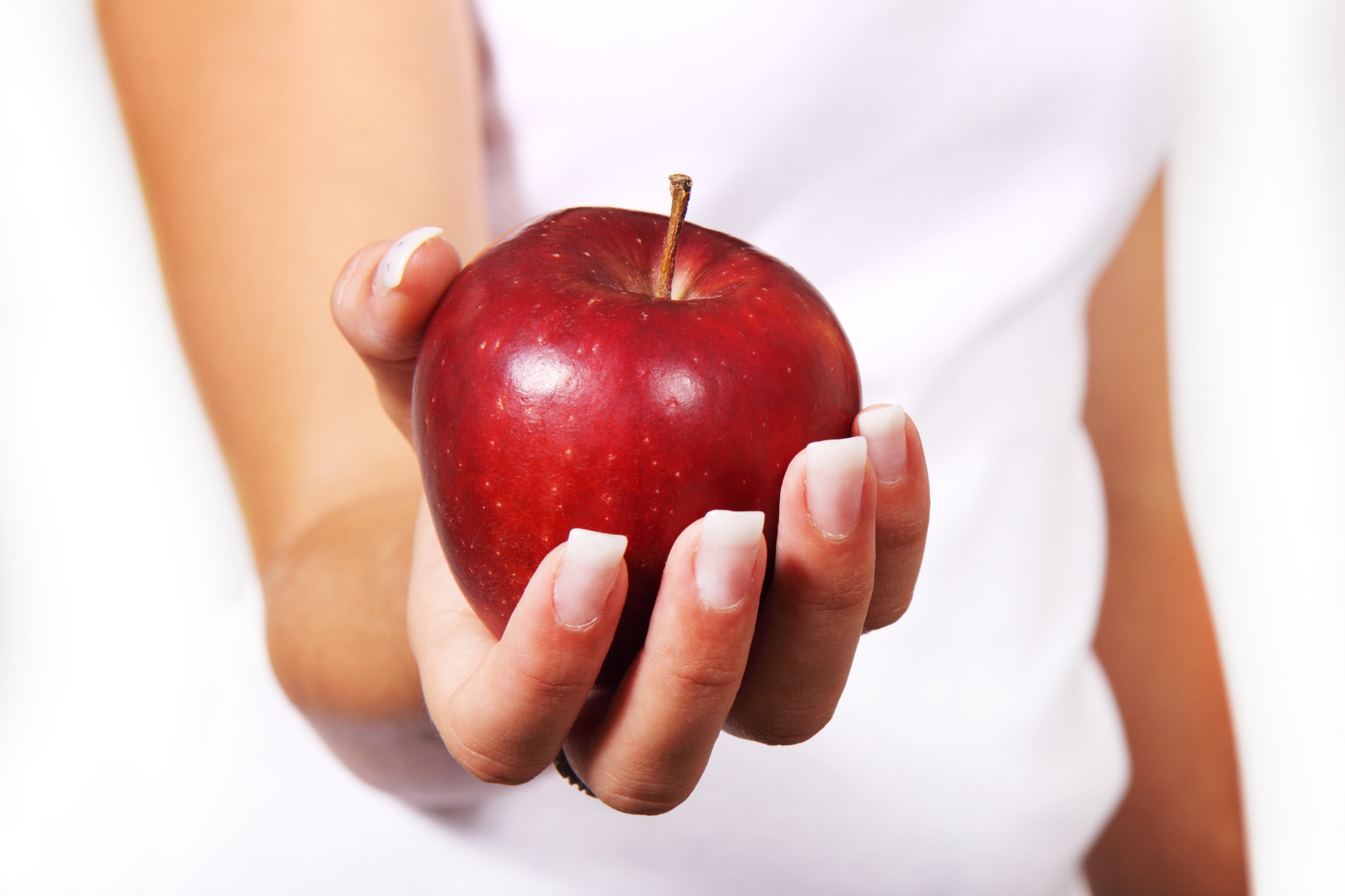 Person in white shirt holding red apple photo
