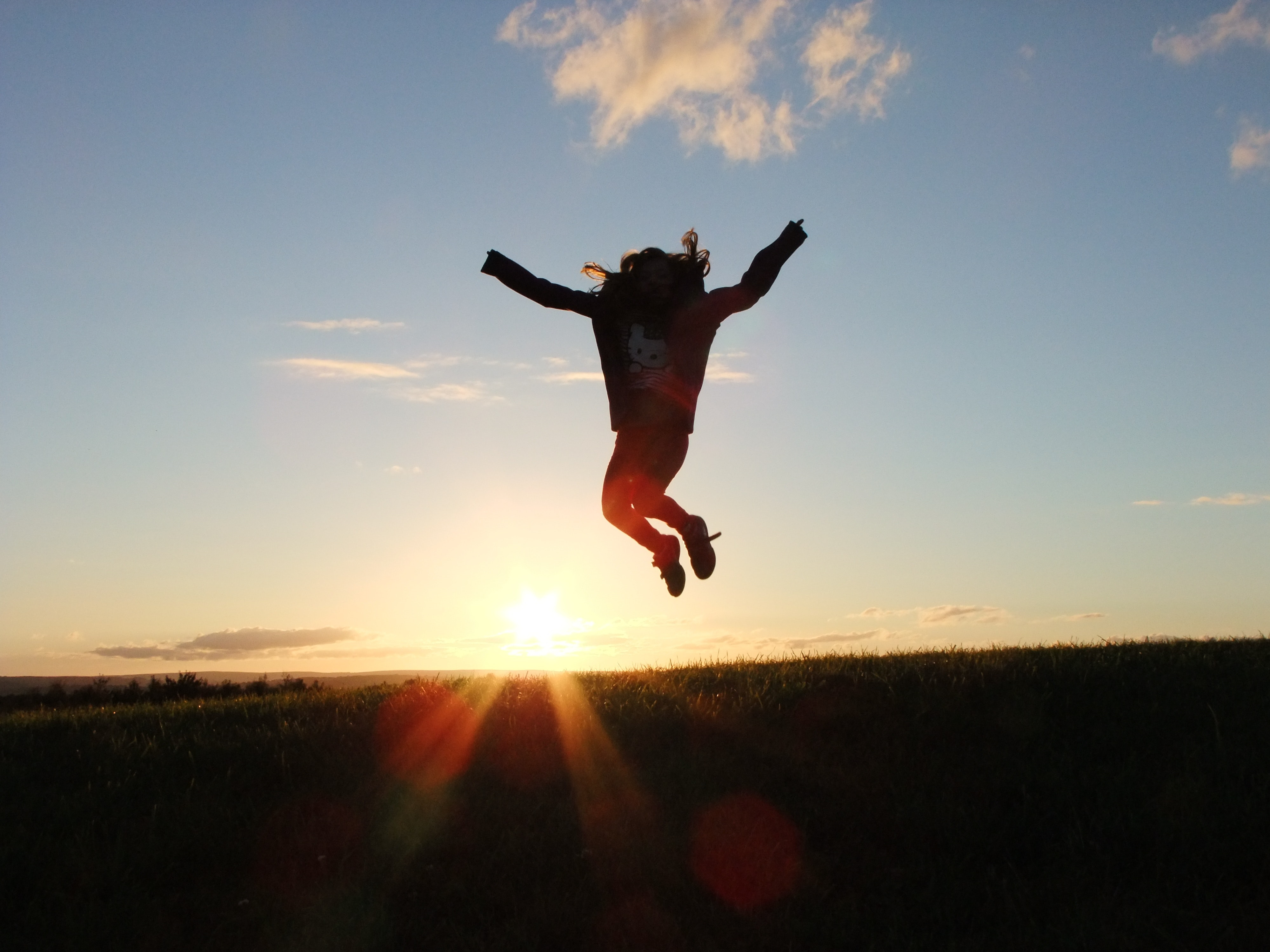 Silhouette Photo of a Person Jumping Nearby Green Grass Field during ...