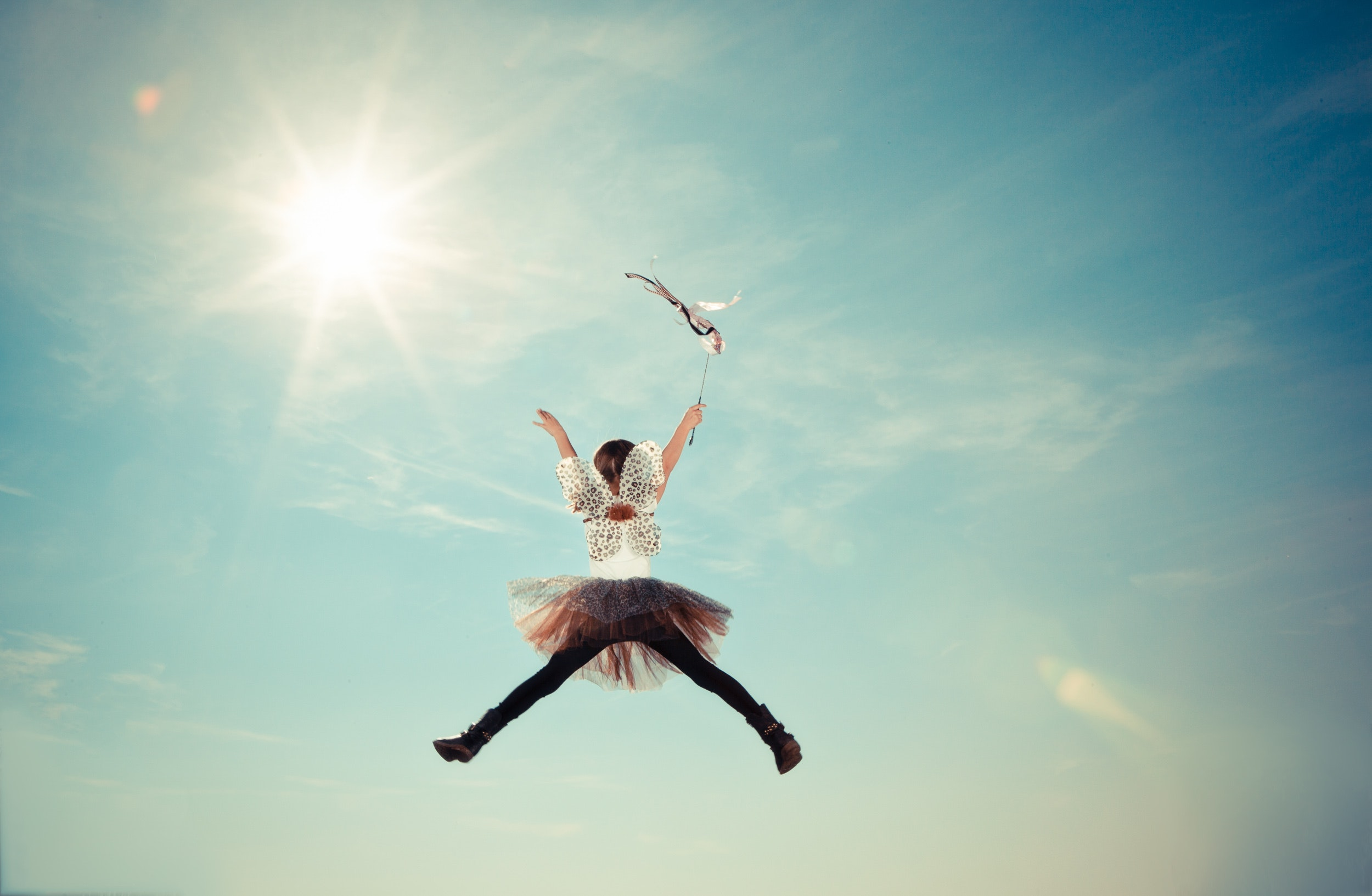 Person Jumping Photo, Child, Costume, Fairy, Fly, HQ Photo