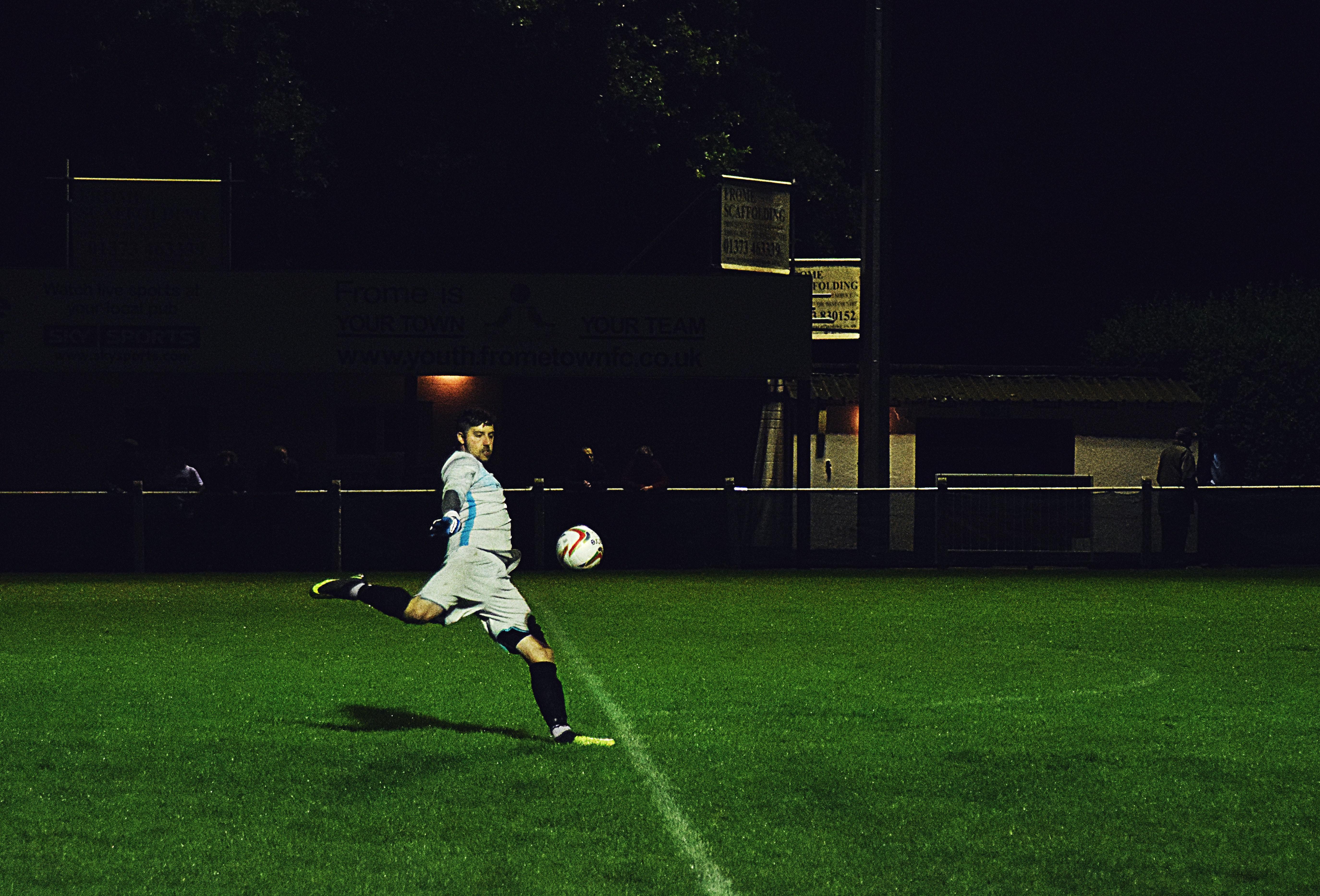Person Kicks Soccer Ball in Field, Action, Play, Wear, Uniform, HQ Photo