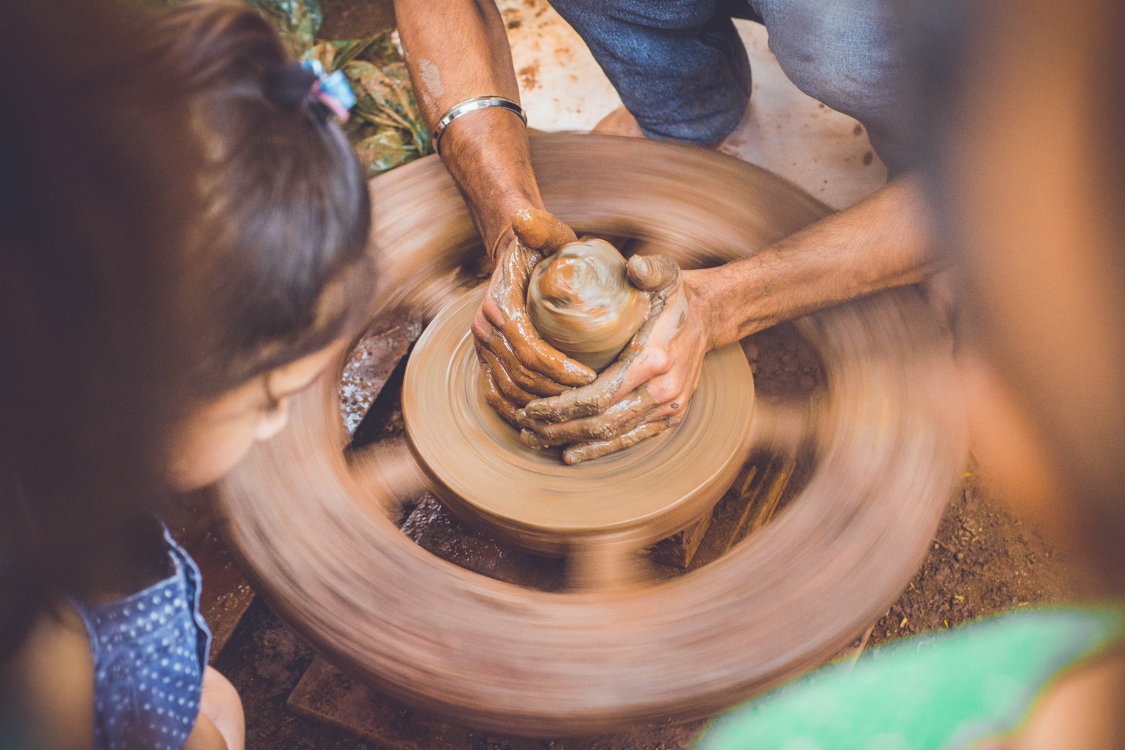 Person Making Clay Pot in Front of Girl during Daytime, Art, Brown, Clay, Craftsmanship, HQ Photo
