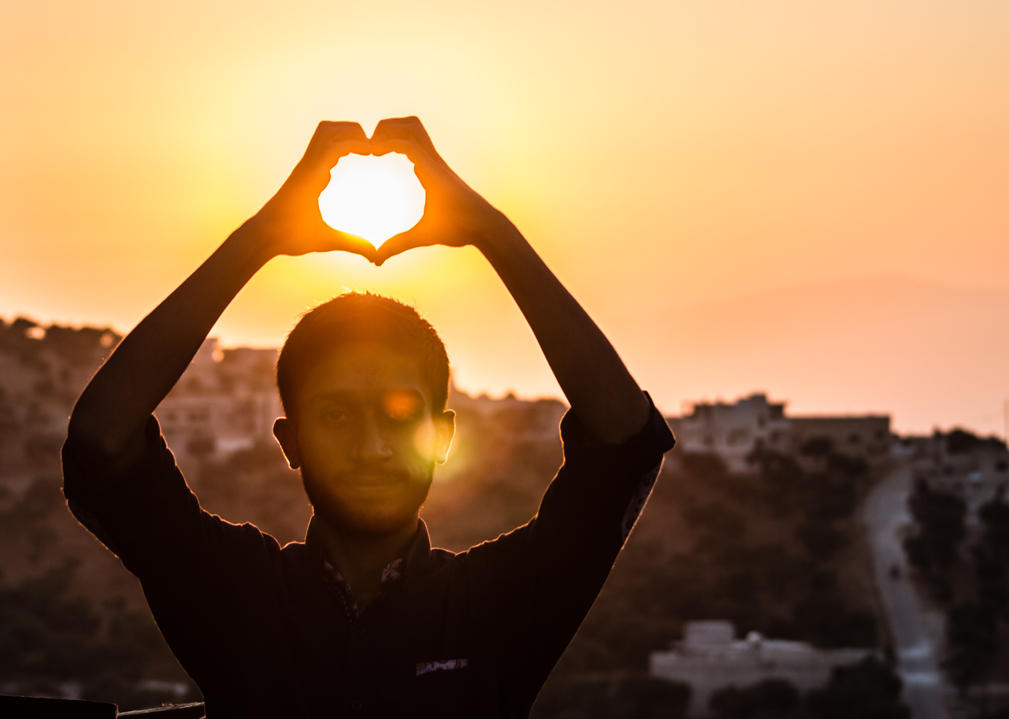 Person Making Heart Shape With His Hand During Sunset, Sky, Silhouette, Person, Sunrise, HQ Photo