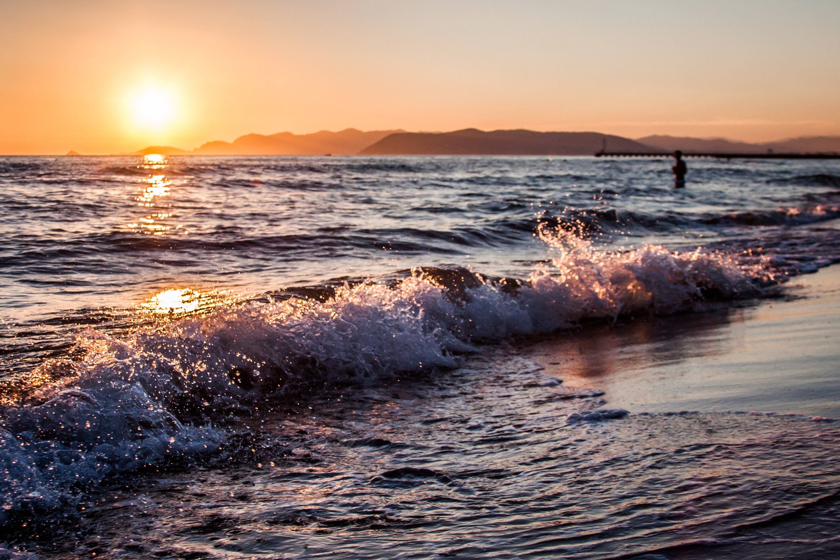 Person on Beach during Golden Hour, Beach, Sand, Water, Sunset, HQ Photo
