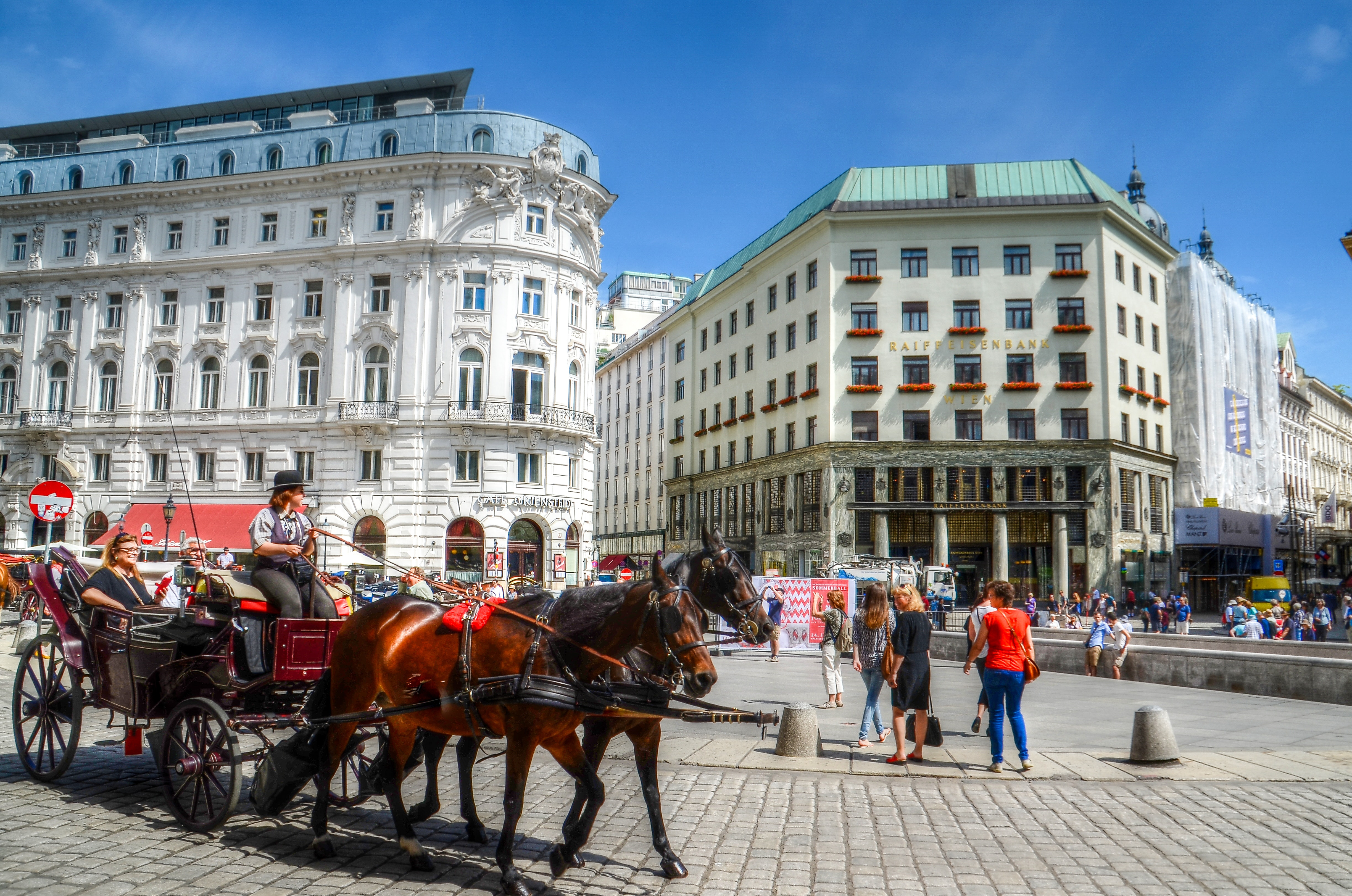 Person on Carriage With Two Horses Near Concrete Building, Architecture, People, Urban, Tourist, HQ Photo