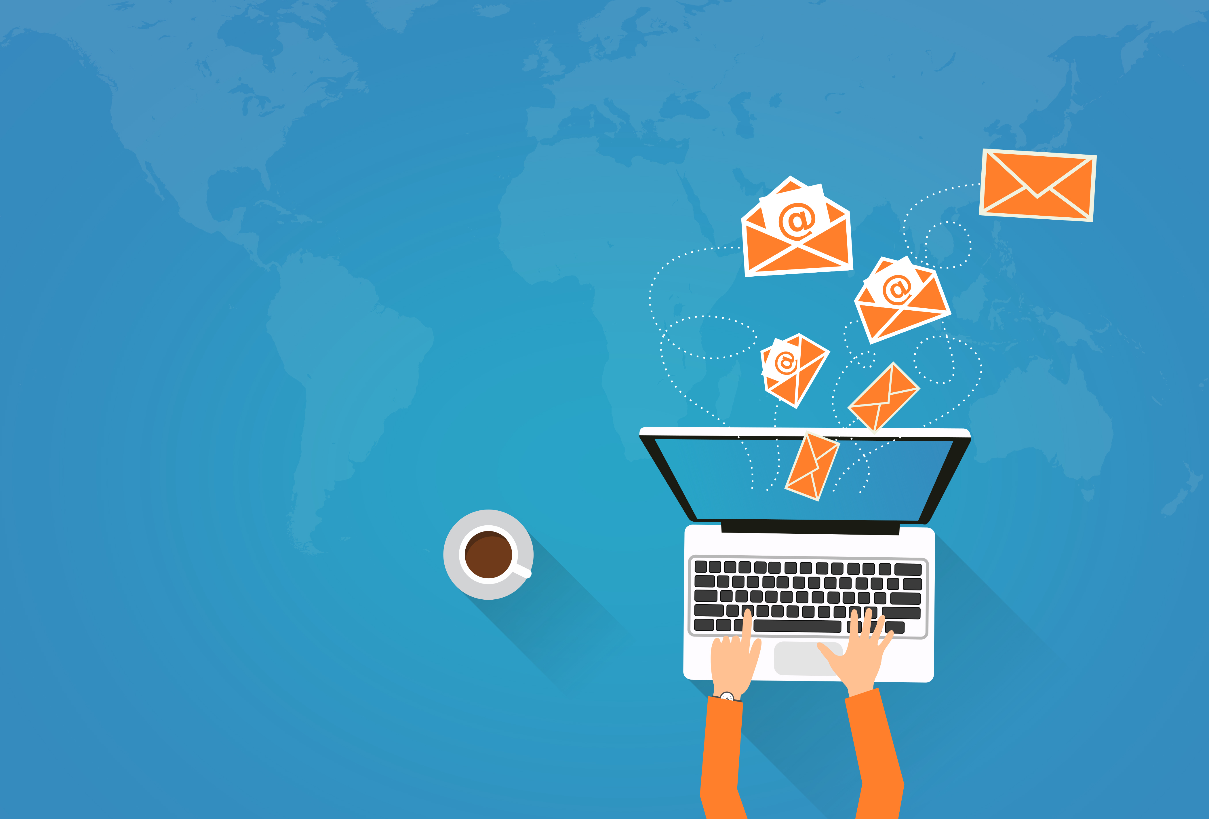 Person on Laptop Sending Virtual Envelopes, Advertisement, Message, New, Network, HQ Photo