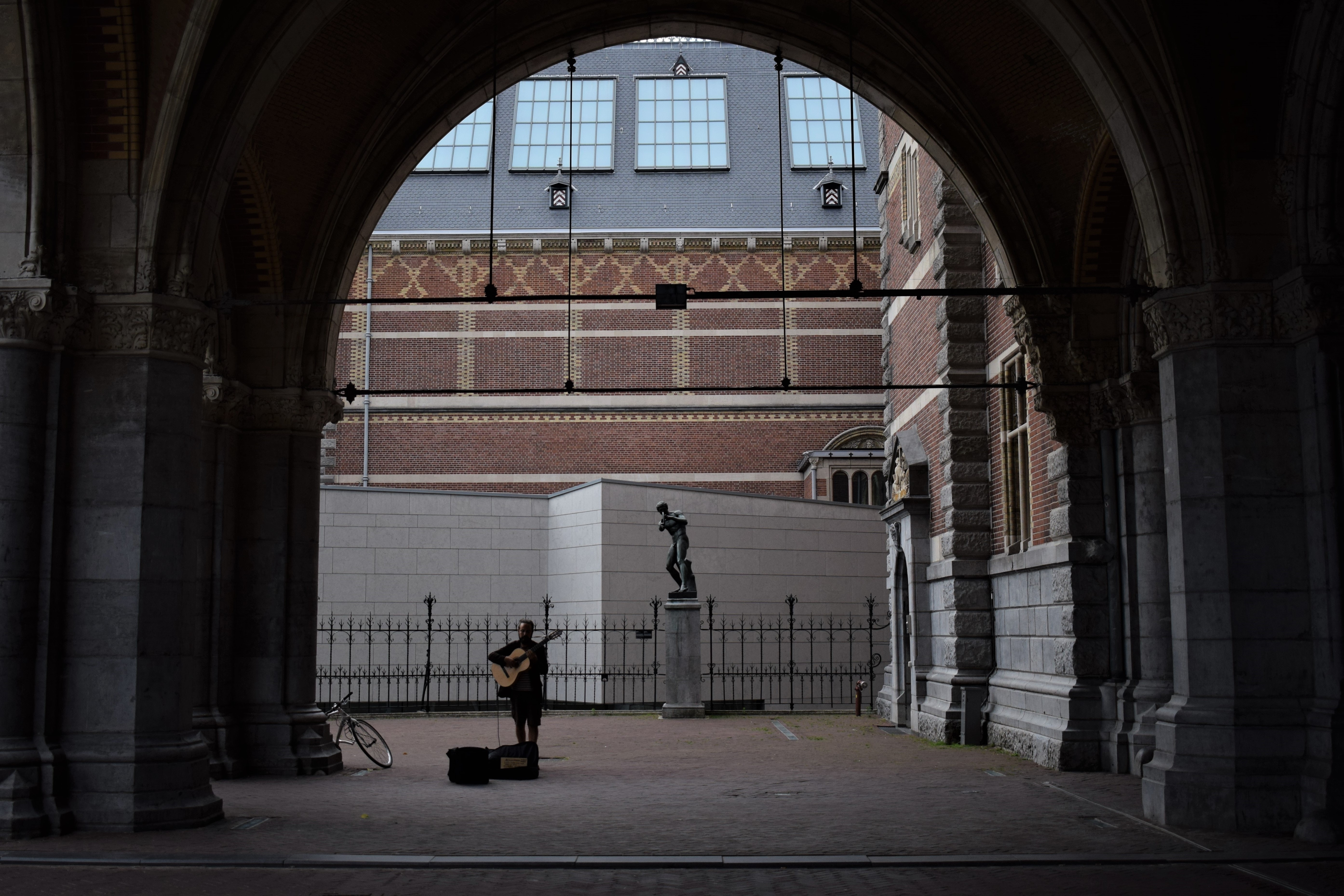 Person Playing Guitar on Street, Adult, Monument, Street, Stone, HQ Photo