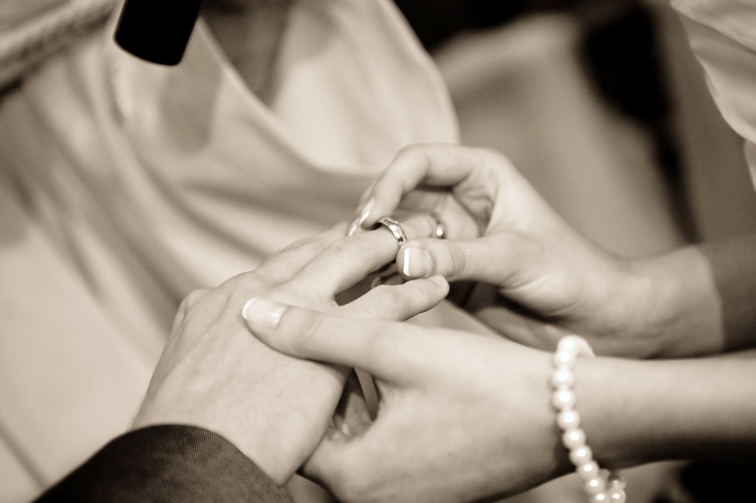 Person Putting Ring on Another Person in Grayscale Photography, Couple, Hands, Love, Marriage, HQ Photo