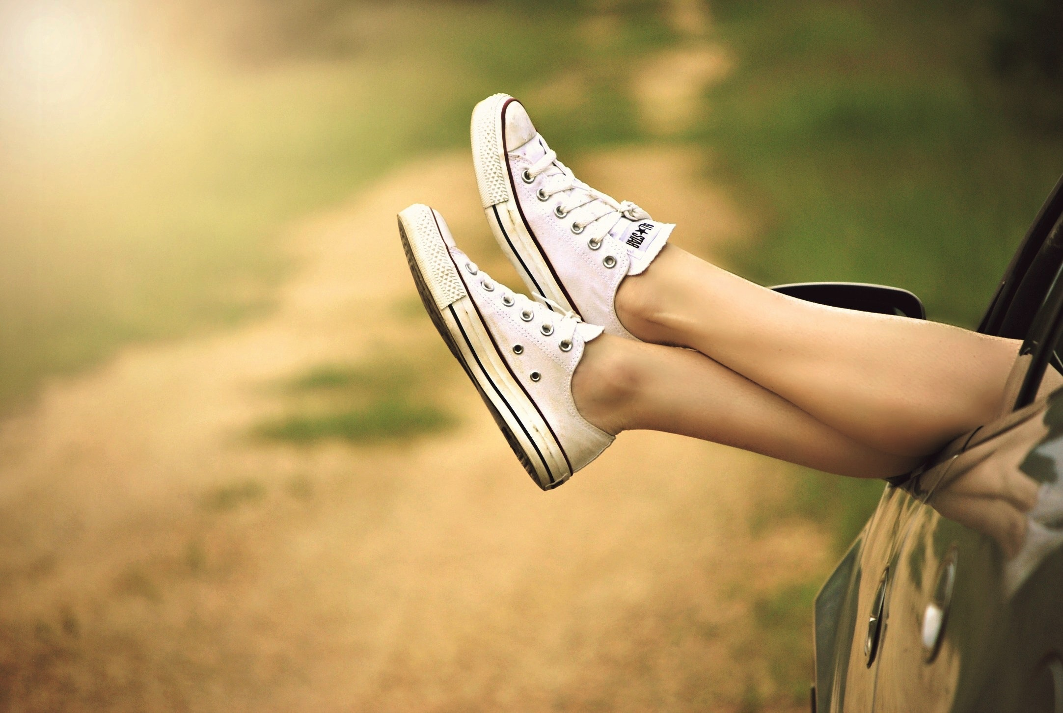 Person Showing Its Feet Wearing White Sneakers, Car, Lifestyle, Summer, Sneakers, HQ Photo