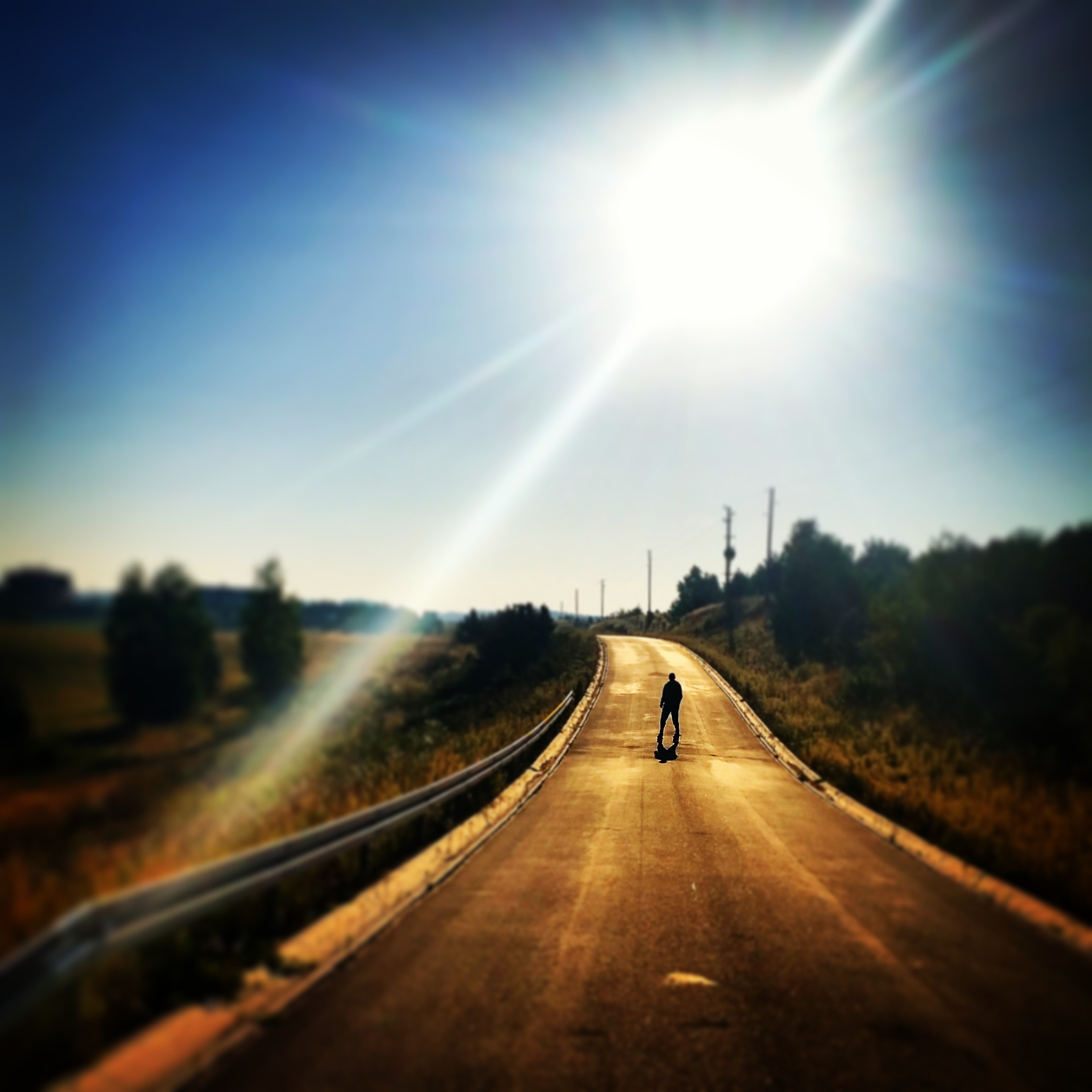 Person Standing on Blacktop Road Under Blue Sky During Daytime, Alone, Man, Road, Street, HQ Photo