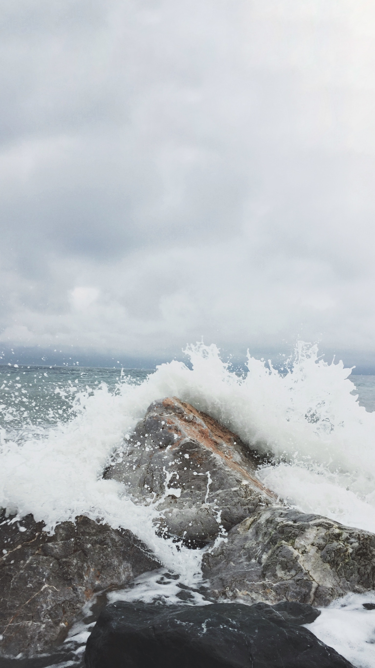 Person Taking Photo of Sea Waves and Gray Concrete Rock, Beach, Sky, Waves, Water, HQ Photo