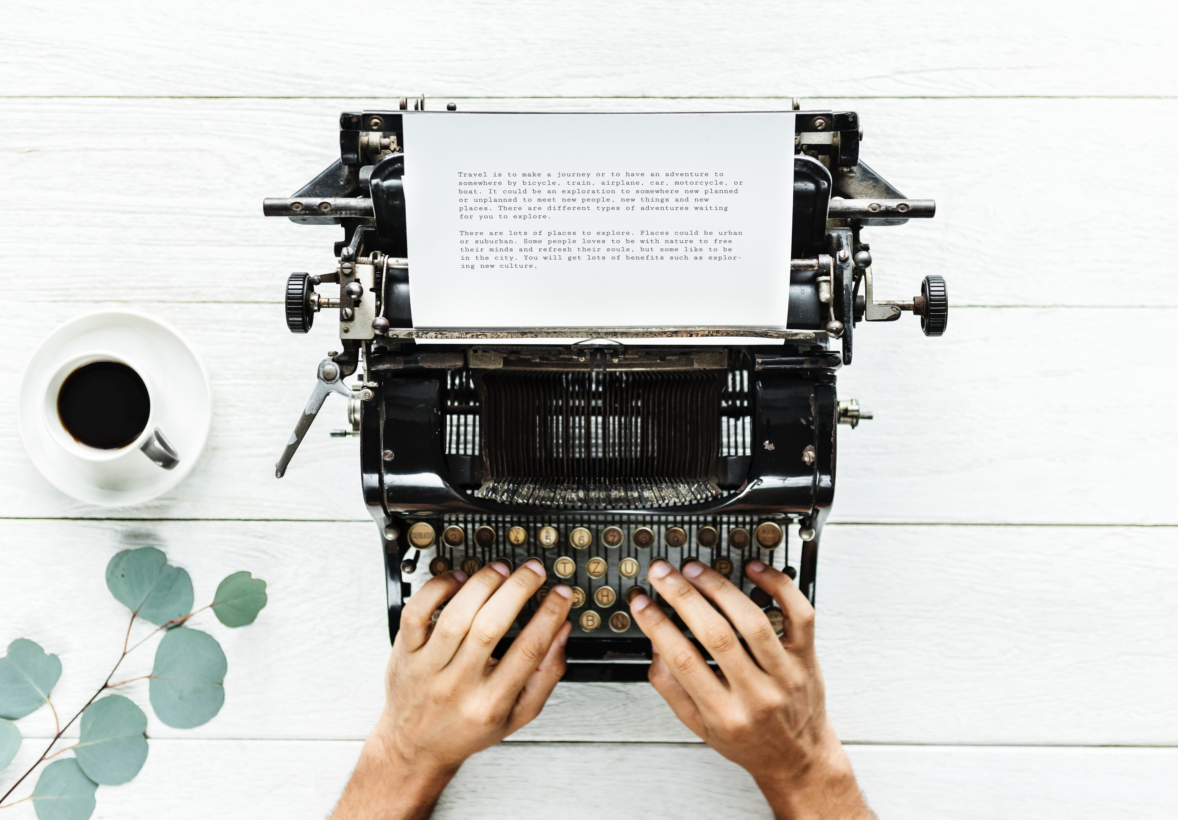 Person Using Typewriter on White Surfac, Background, Mug, Workplace, Working, HQ Photo