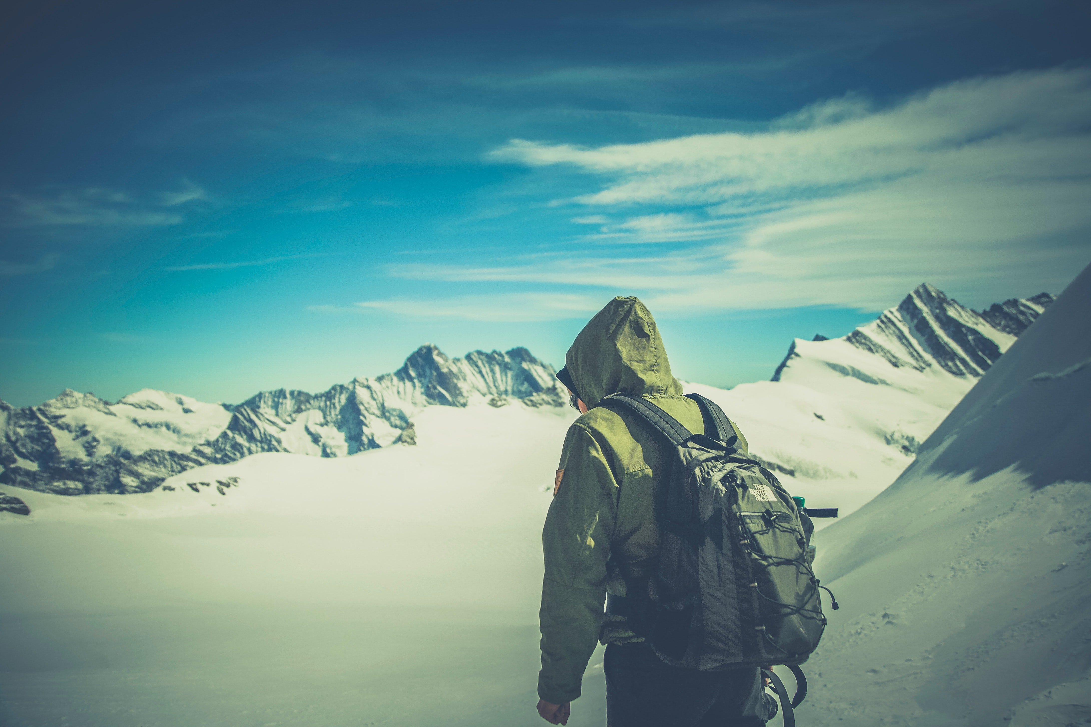 Person Wearing Green Jacket Walking on White Snow Covered Mountain, Alone, Backpack, Climbing, Cold, HQ Photo