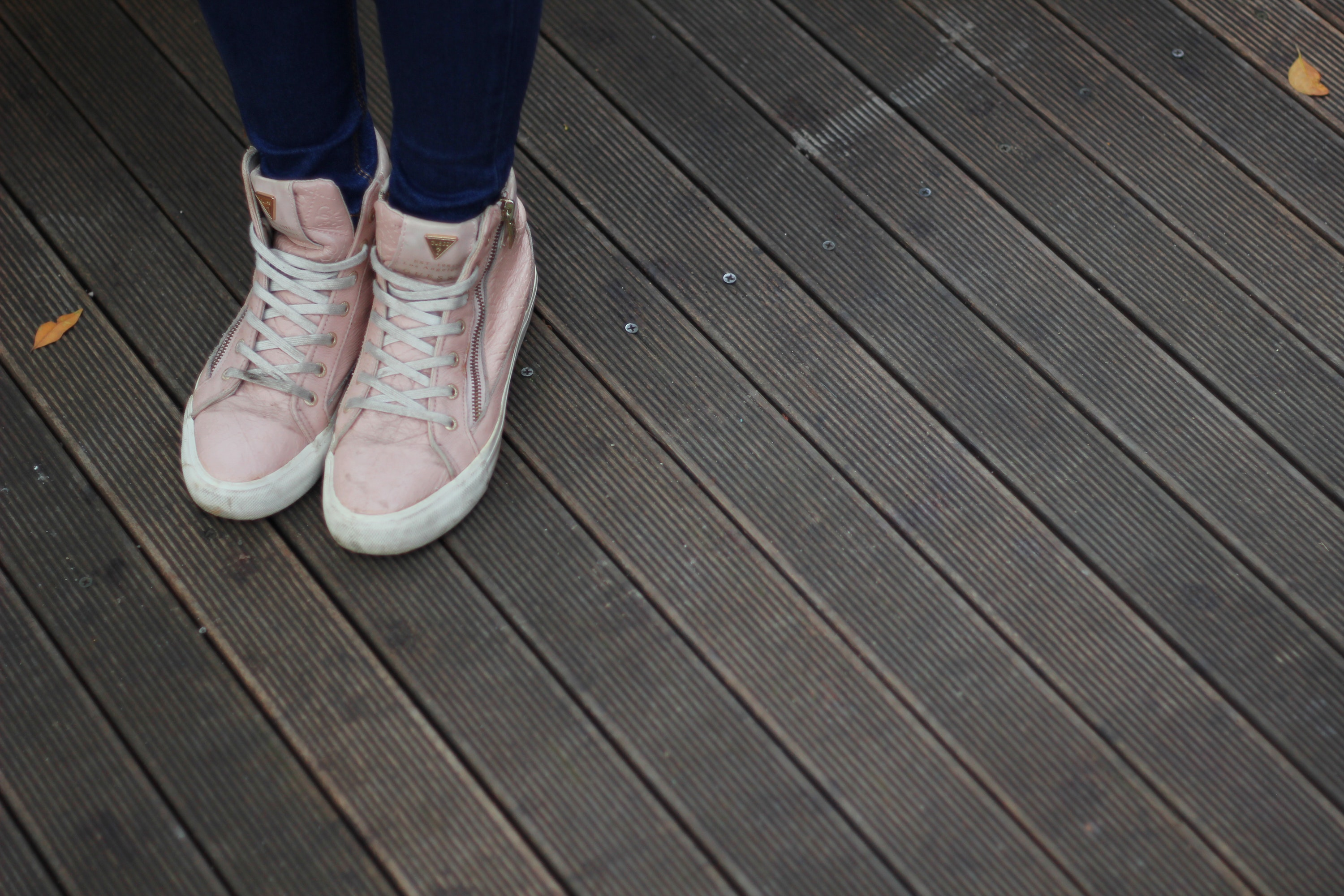 Person Wearing Pink and White High Top Sneakers, Denim, Denim jeans, Fashion, Foot, HQ Photo