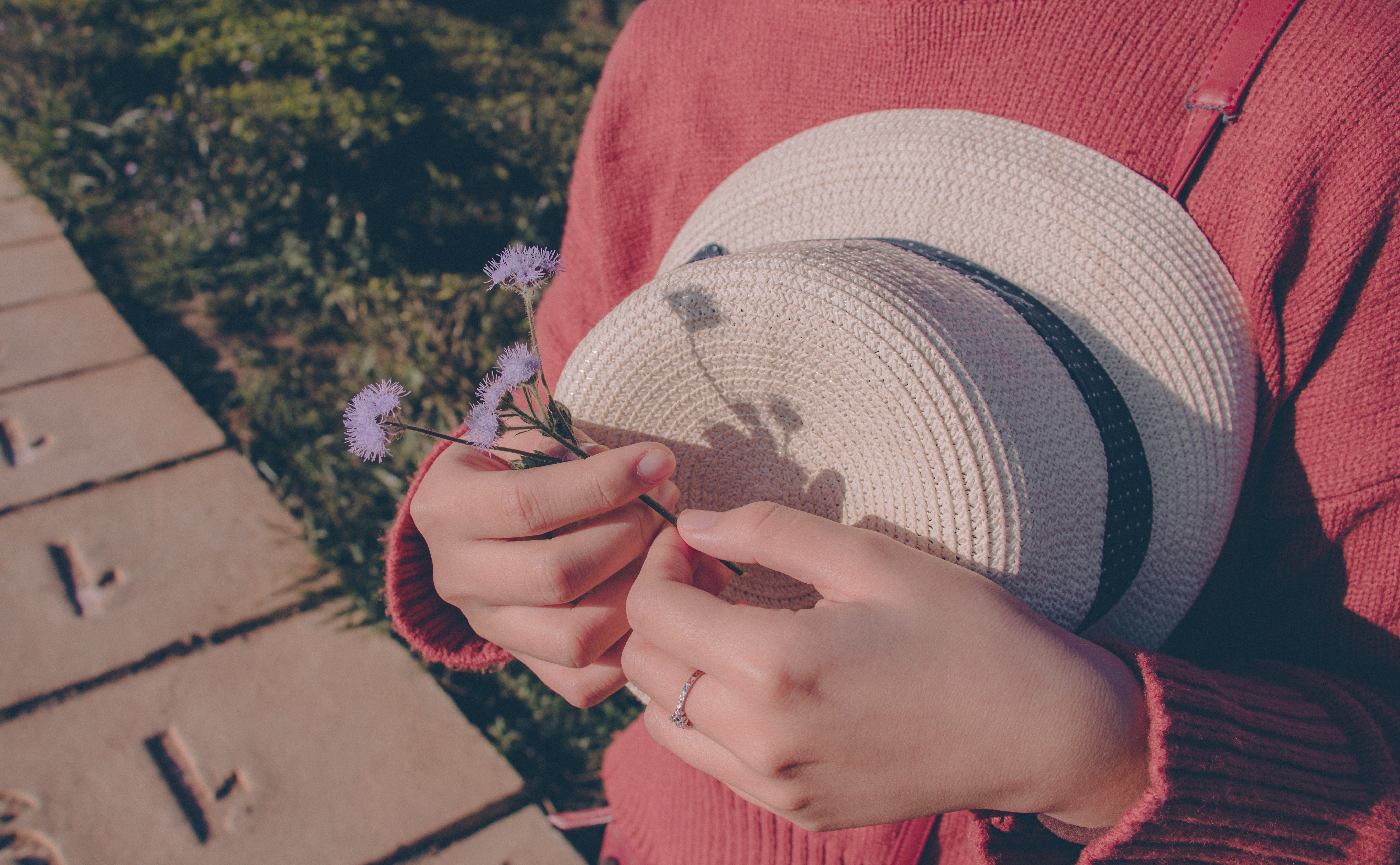 Person wearing sweater holding flower and hat photo