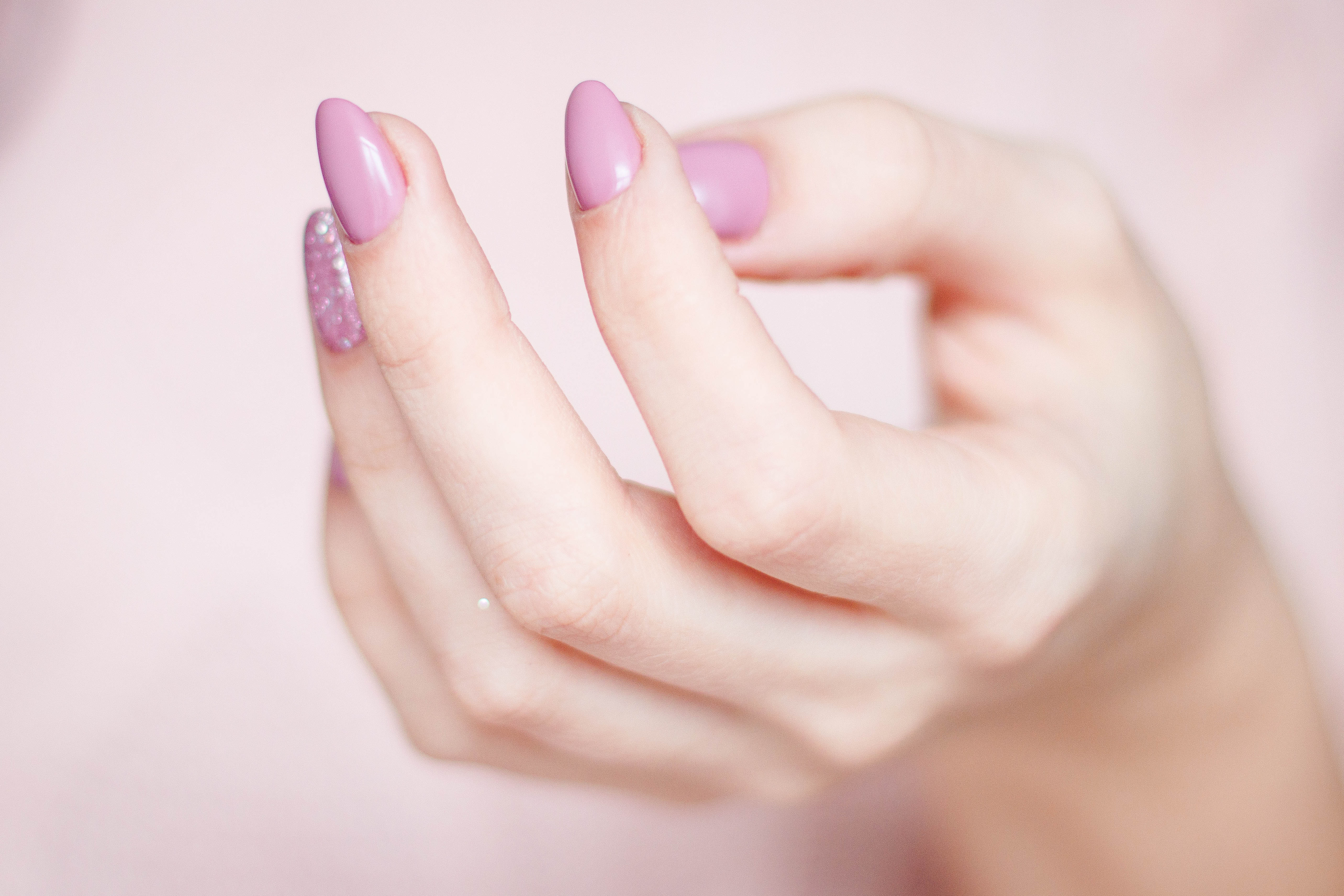 Person's Hand With Pink Manicure, Care, Clean, Close-up, Color, HQ Photo