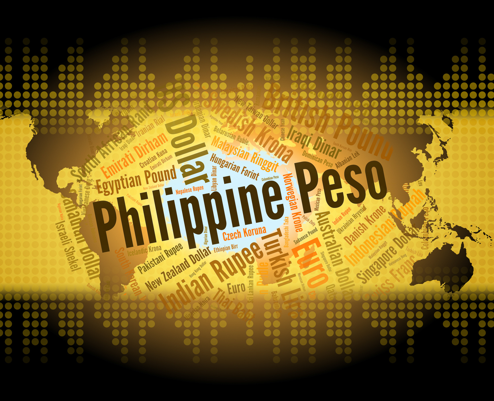 Philippine peso means exchange rate and banknote photo