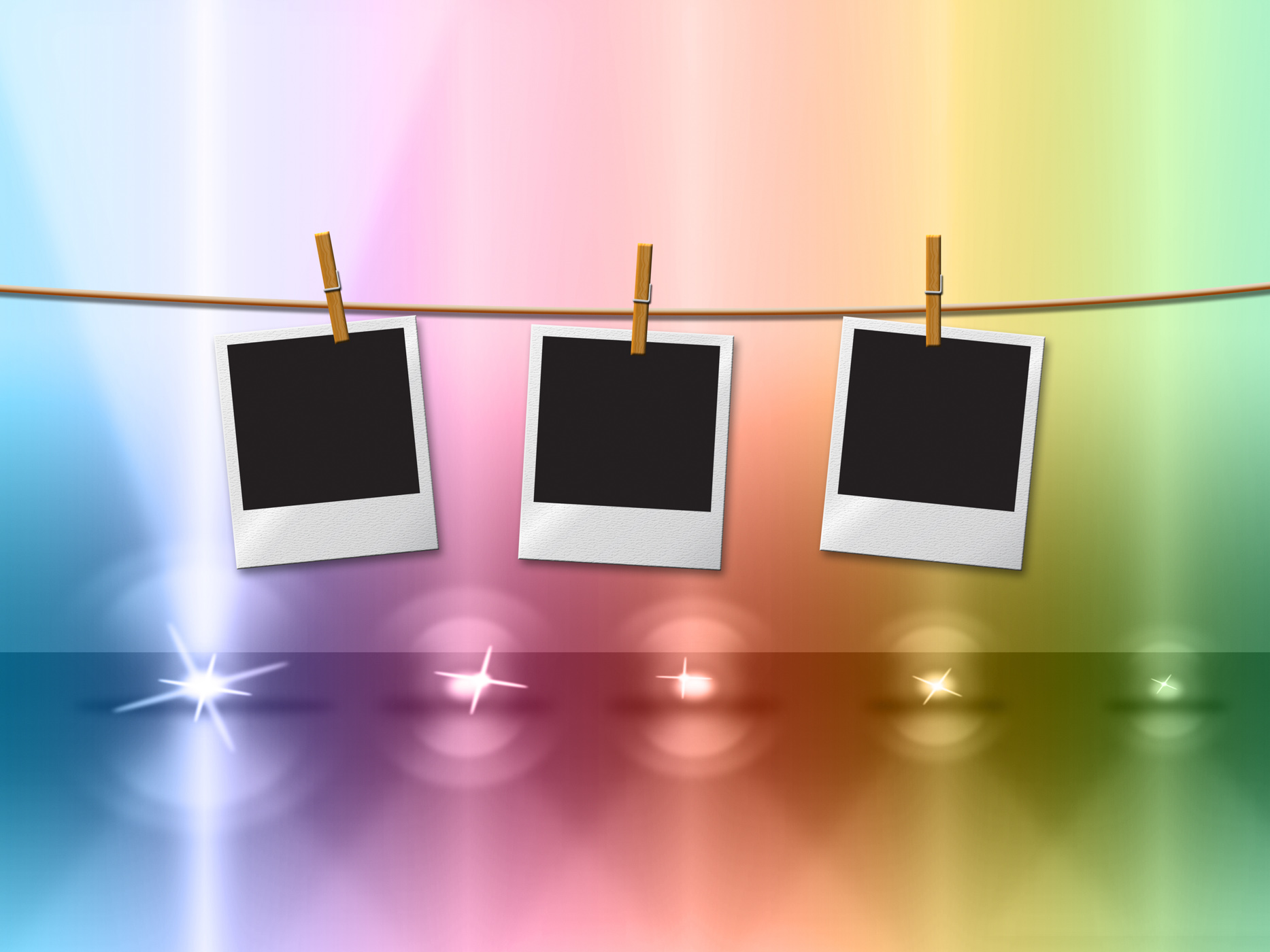Photo frames indicates lightsbeams of light and copy-space