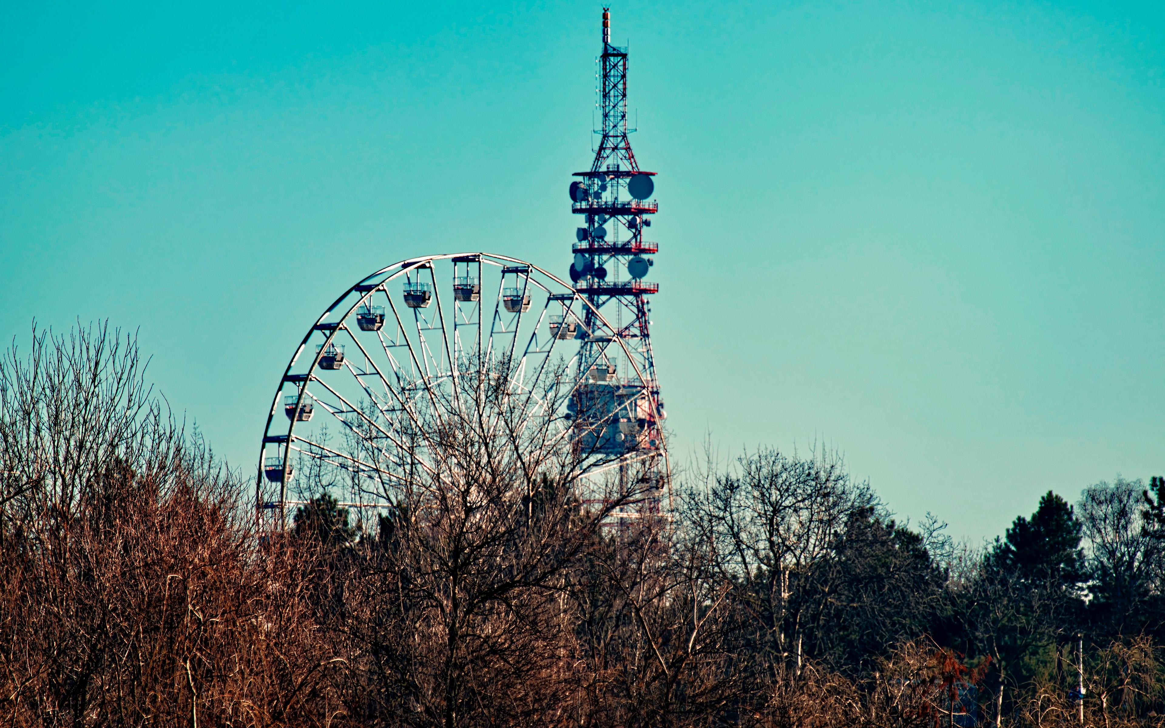Photo of a ferris wheel beside tower