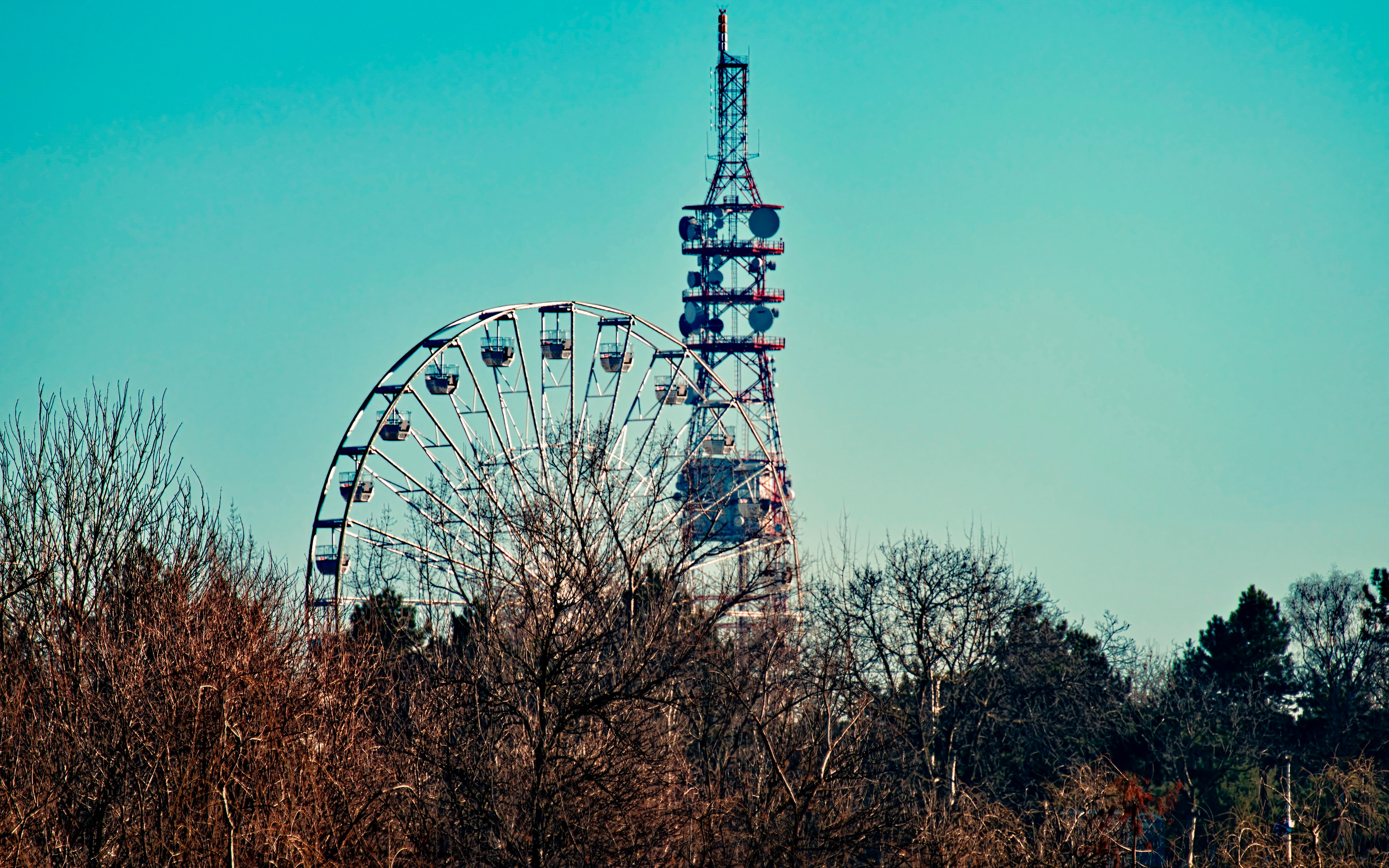 Photo of a Ferris Wheel Beside Tower, Blue sky, Power, Trees, Travel, HQ Photo