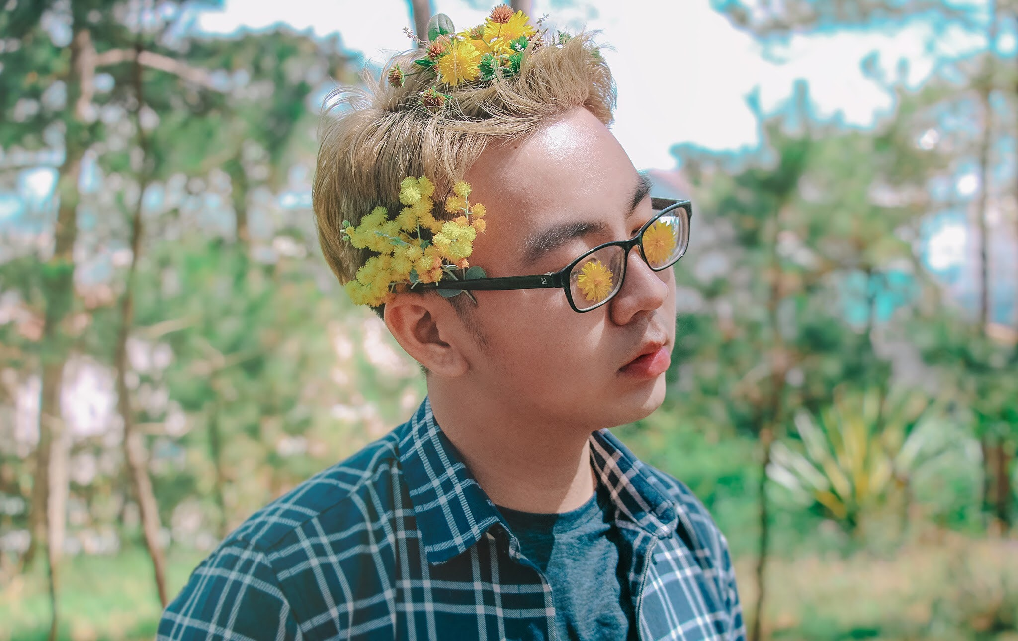 Photo of a Man with Flowers on His Hair, Model, Young, Woods, Trees, HQ Photo
