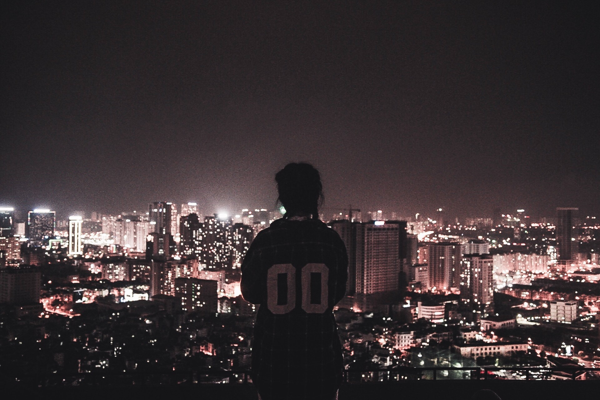 Photo of a Person Watching over City Lights during Night Time, Architecture, Outdoors, Urban, Travel, HQ Photo