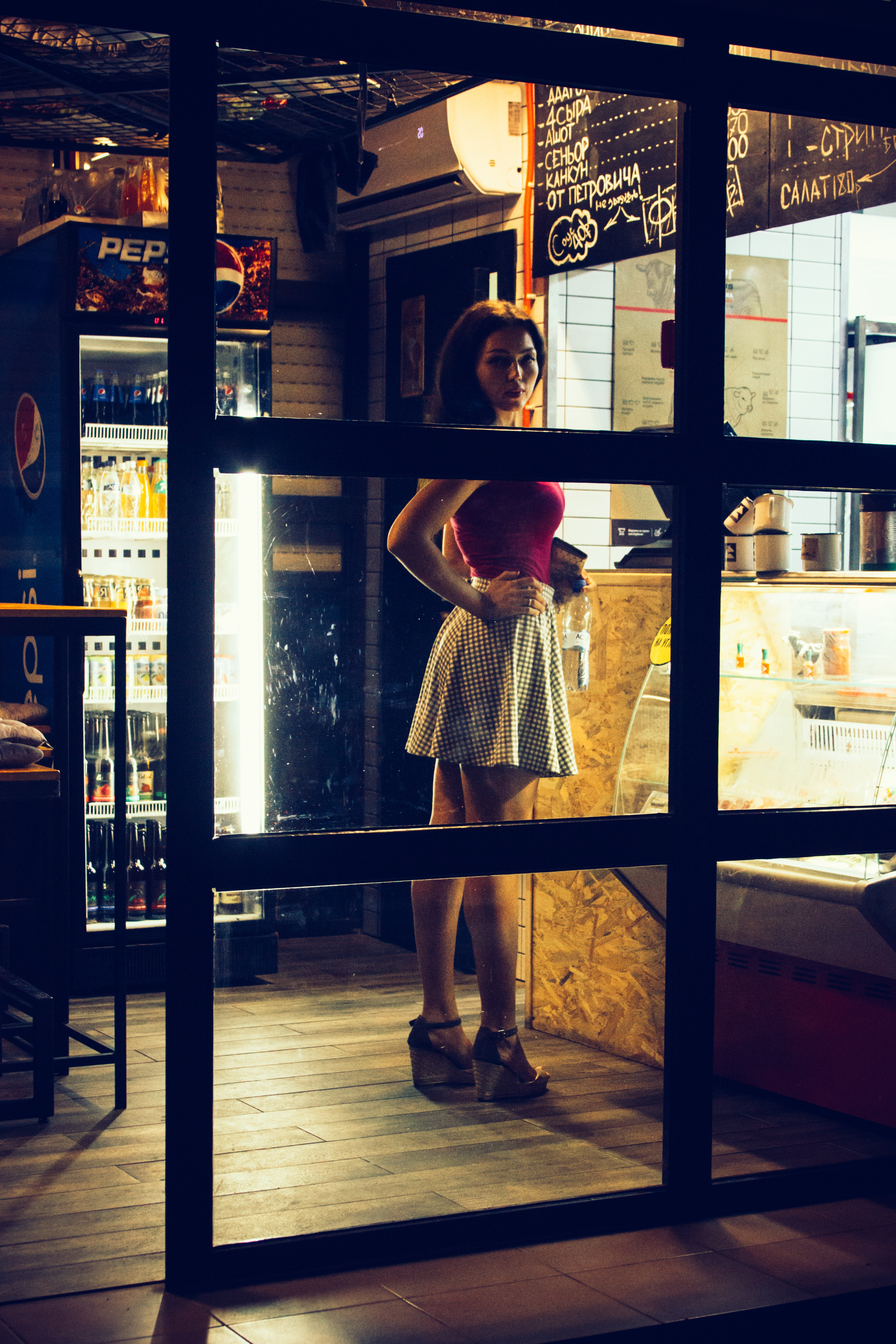 Photo of a Woman Standing in Front of the Counter, Adult, Person, Window, Wear, HQ Photo