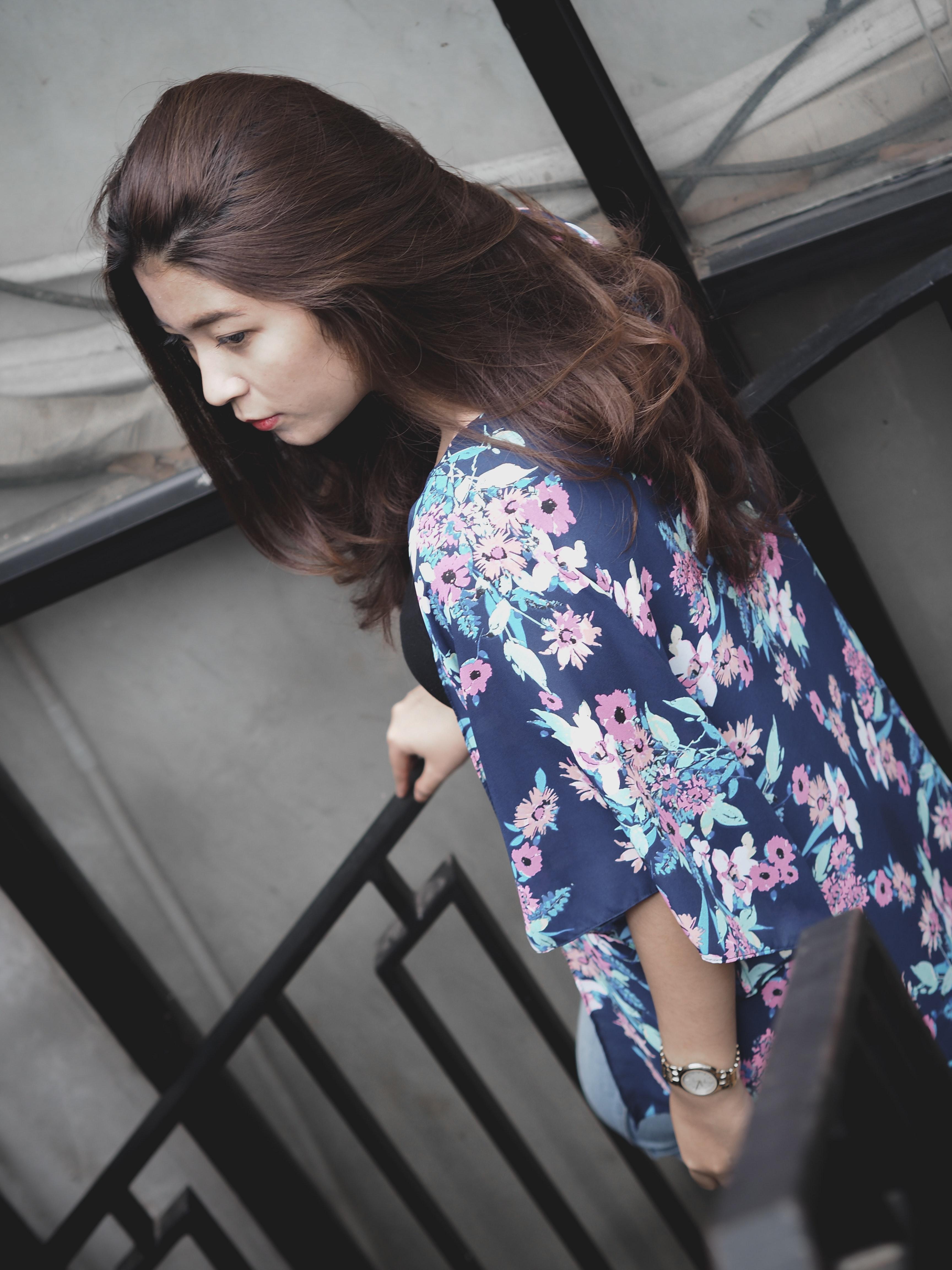 Photo of a Woman Wearing Floral Kimono, Looking, Young, Women fashion, Woman, HQ Photo
