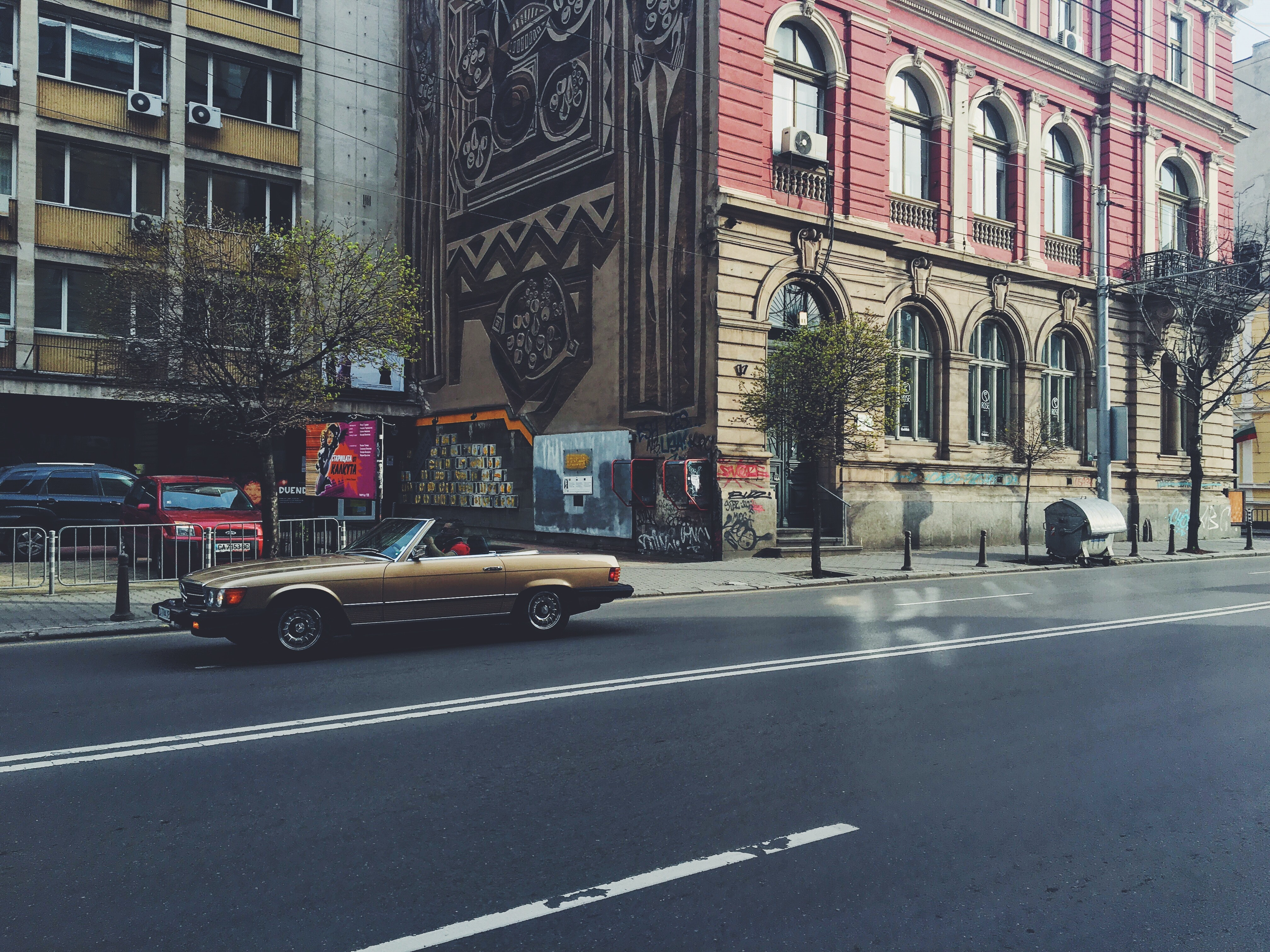Photo of Brown Convertible Coupe on the Road, Architecture, Pavement, Urban, Trees, HQ Photo