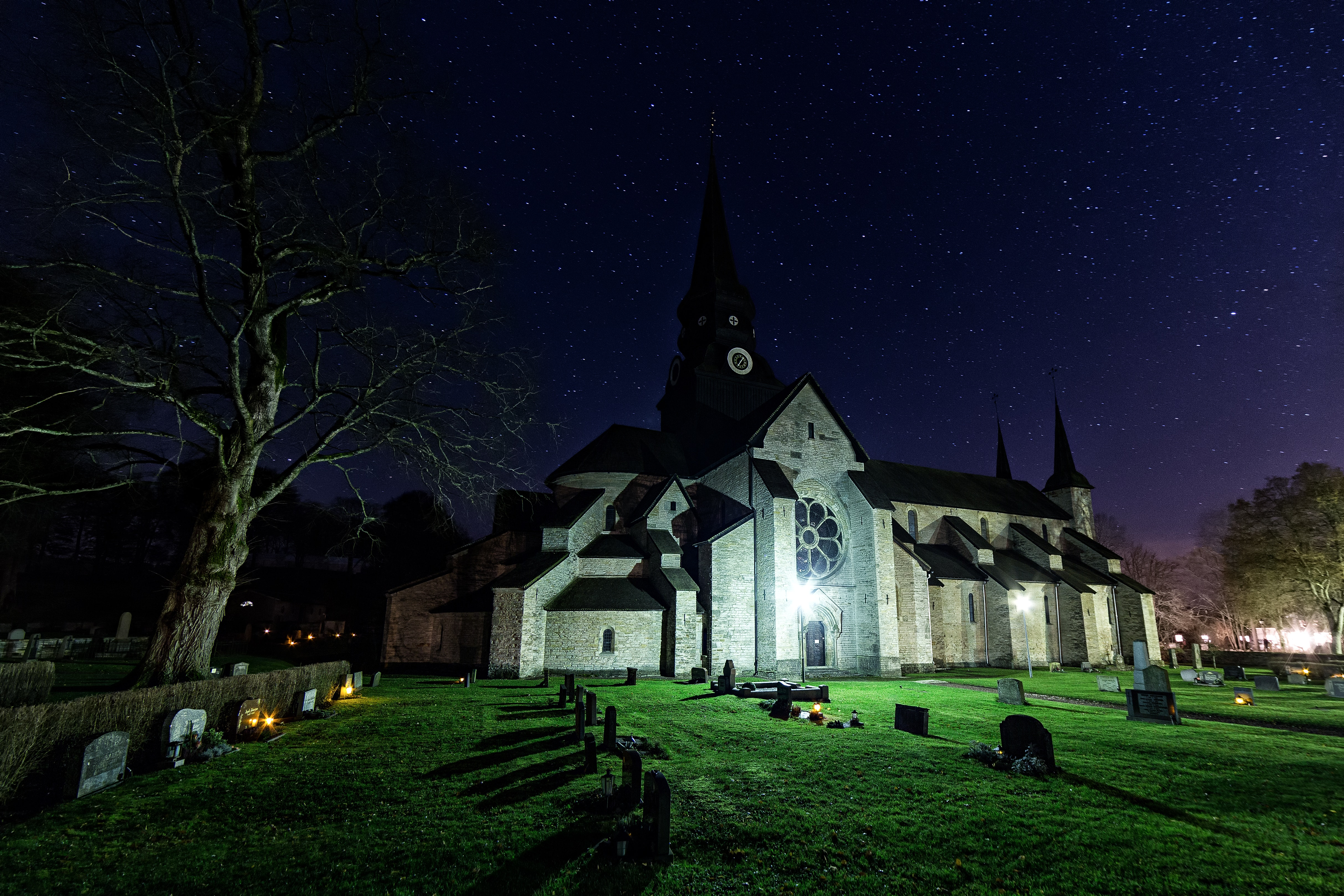 Photo of Cemetery at Night, Architecture, Monastery, Travel, Sweden, HQ Photo