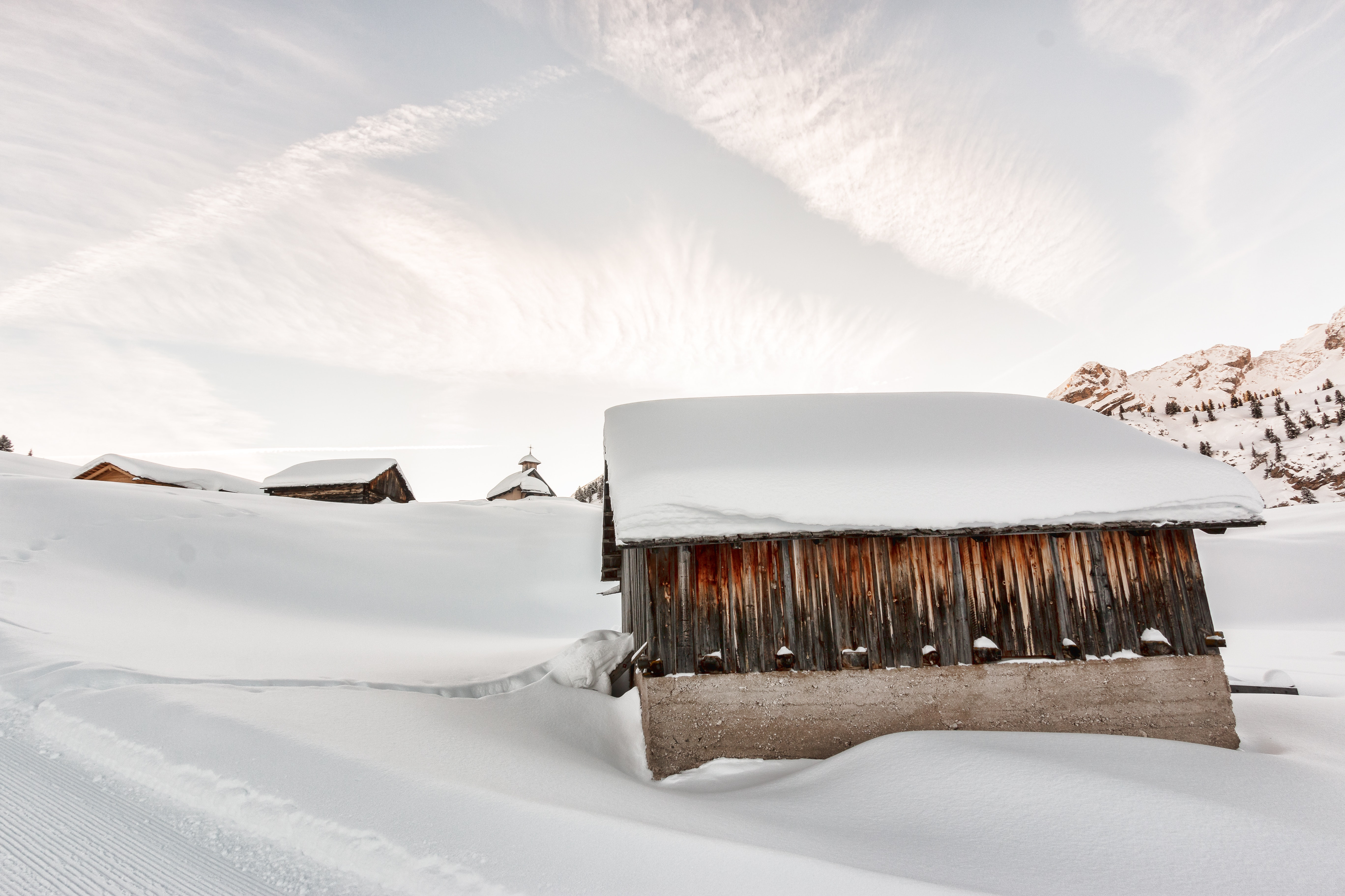 Photo of Concrete Houses Covered With Snow, Mountain, Winter, Weather, Village, HQ Photo