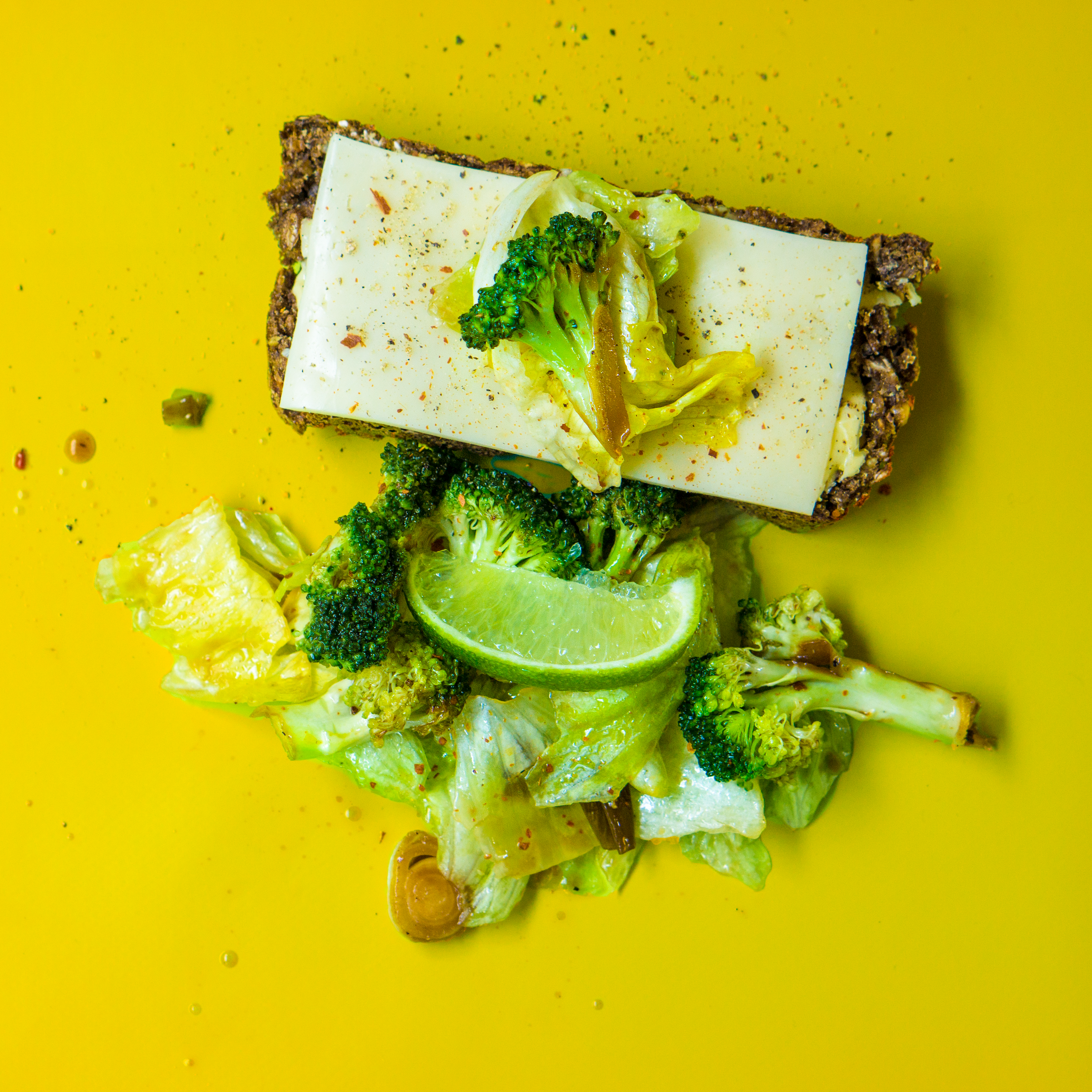 Photo of Green Broccoli, White Cheese and Green Cabbage on Yellow Surface, Herb, Vegetable, Tasty, Slice, HQ Photo
