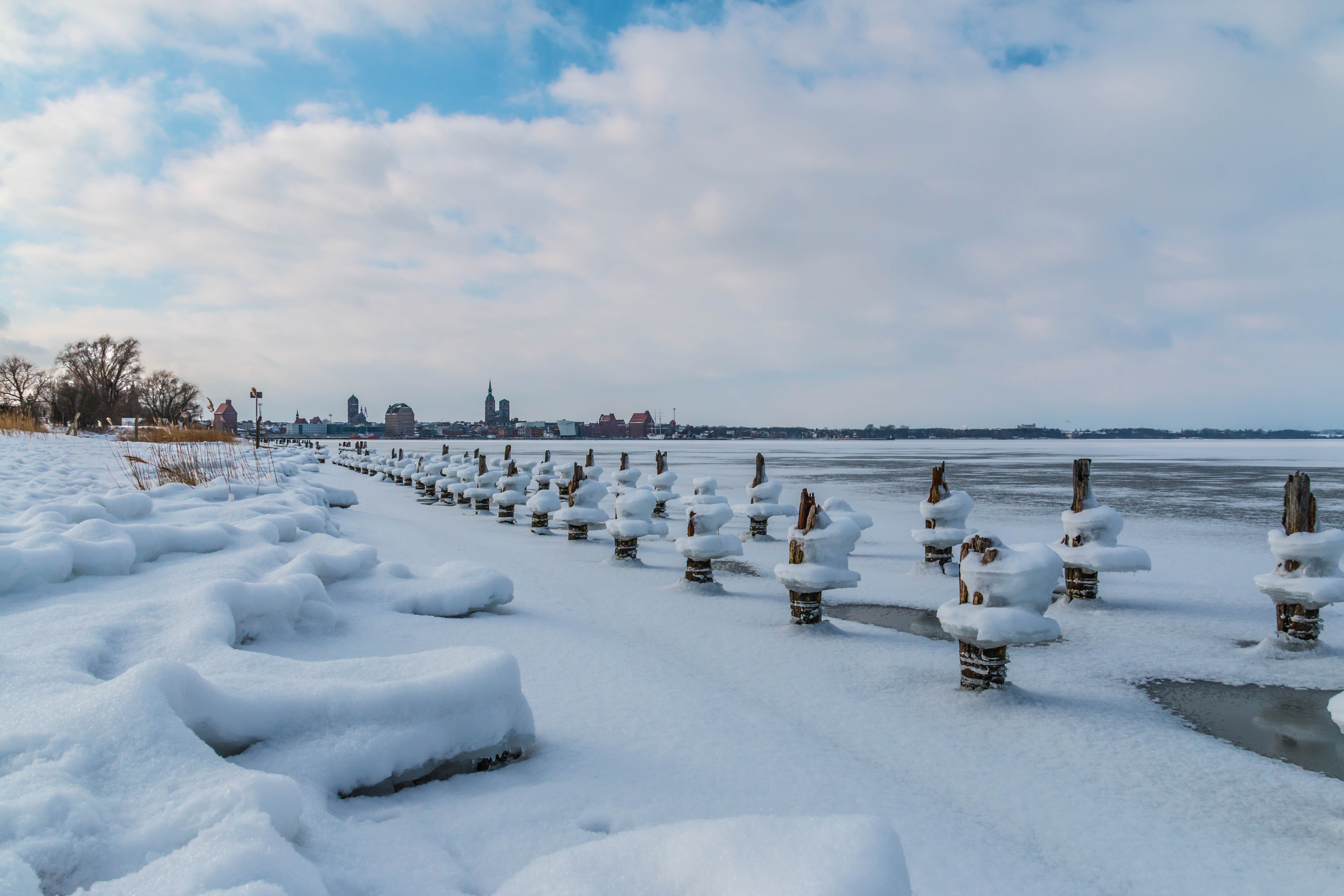 Photo of Log Covered With Snow, Clouds, Scenic, Winter, Weather, HQ Photo