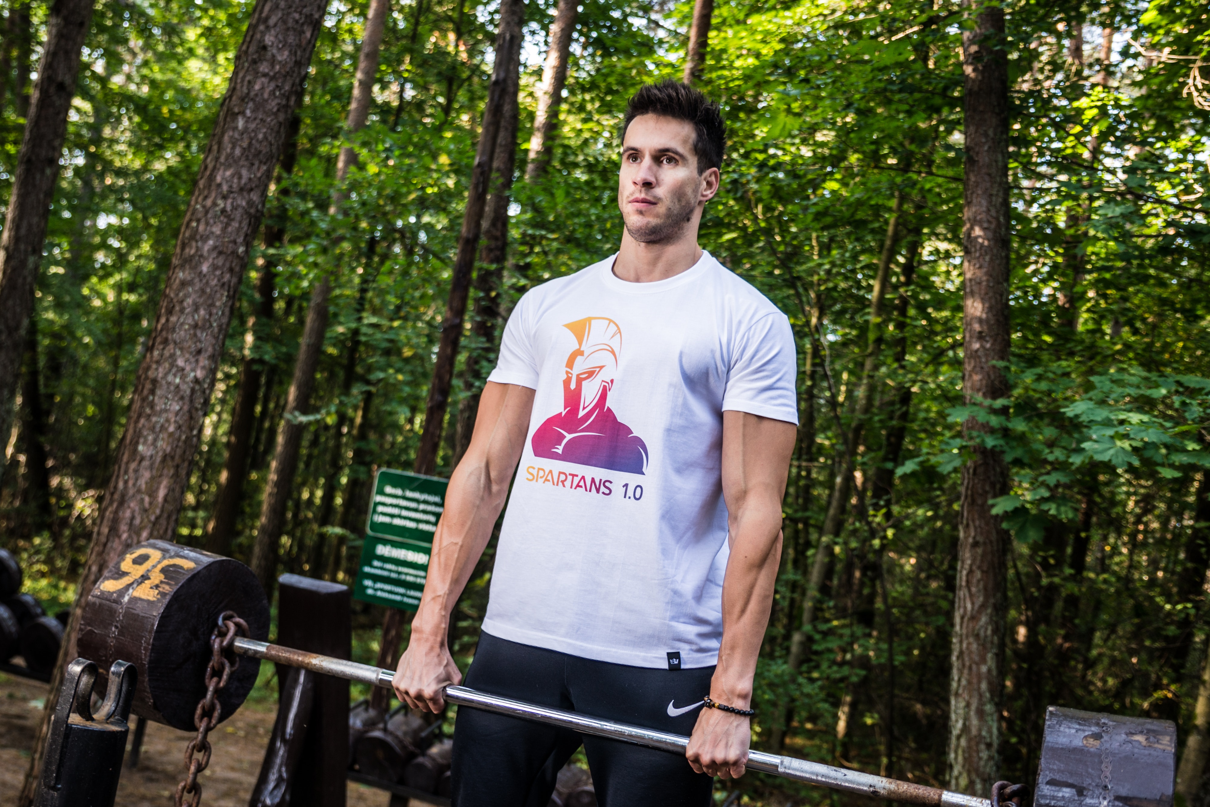 Photo of Man Holding Barbell, Outdoors, Woods, Weightlifting, Trees, HQ Photo