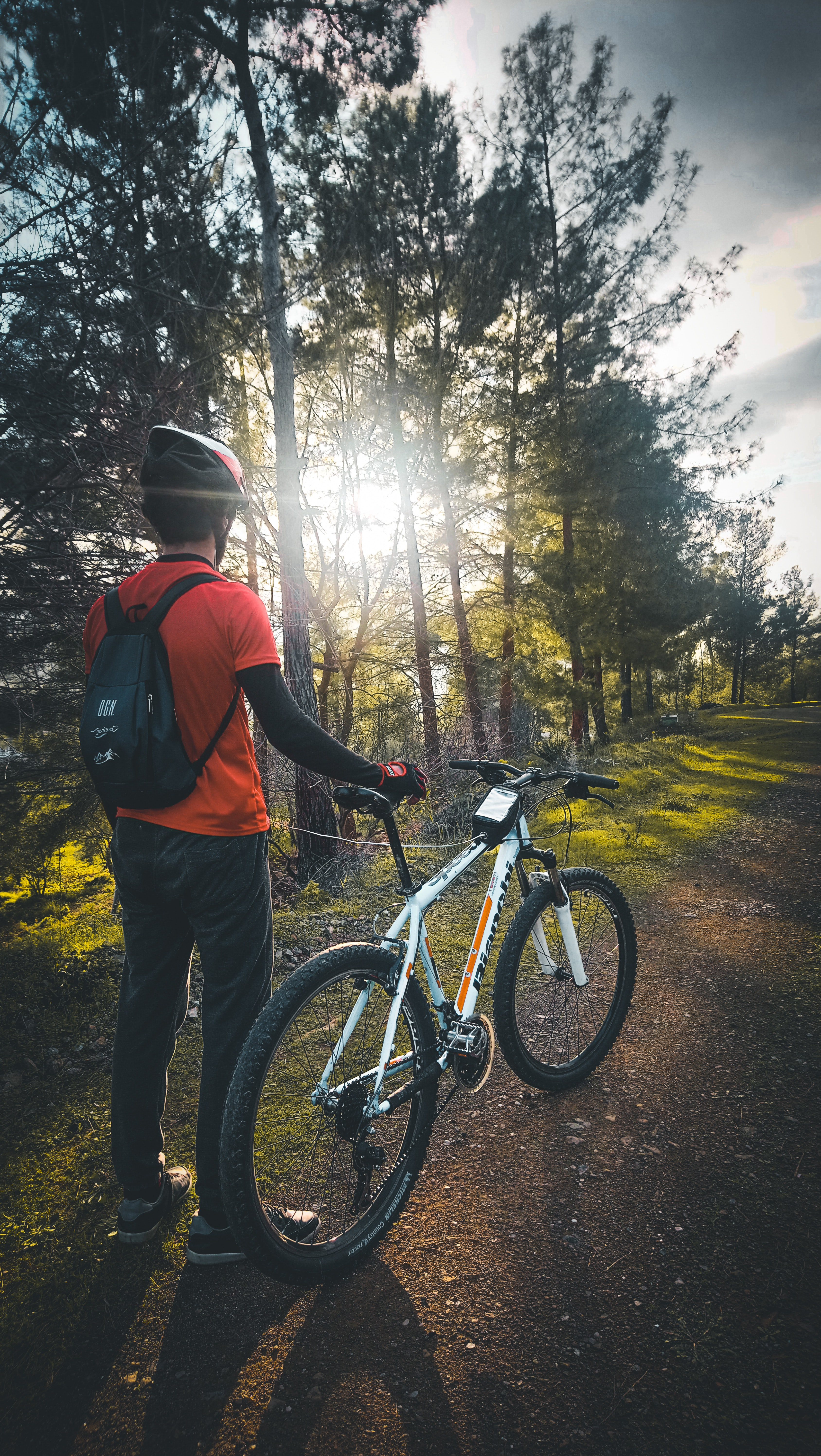 Photo of Man Wearing Red Shirt Holding White Mountain Bike, Adventure, Nature, Wear, Vehicle, HQ Photo