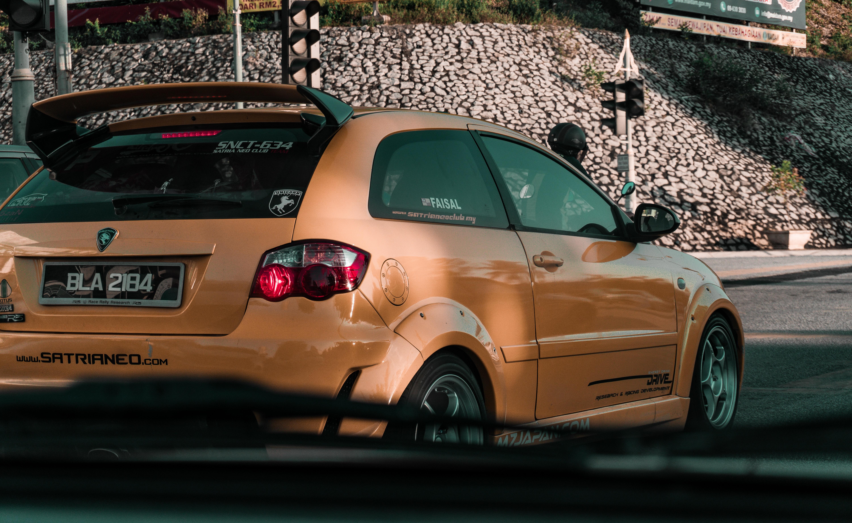 Photo of Orange 3-door Hatchback, Asphalt, Outdoors, Vehicle, Travel, HQ Photo