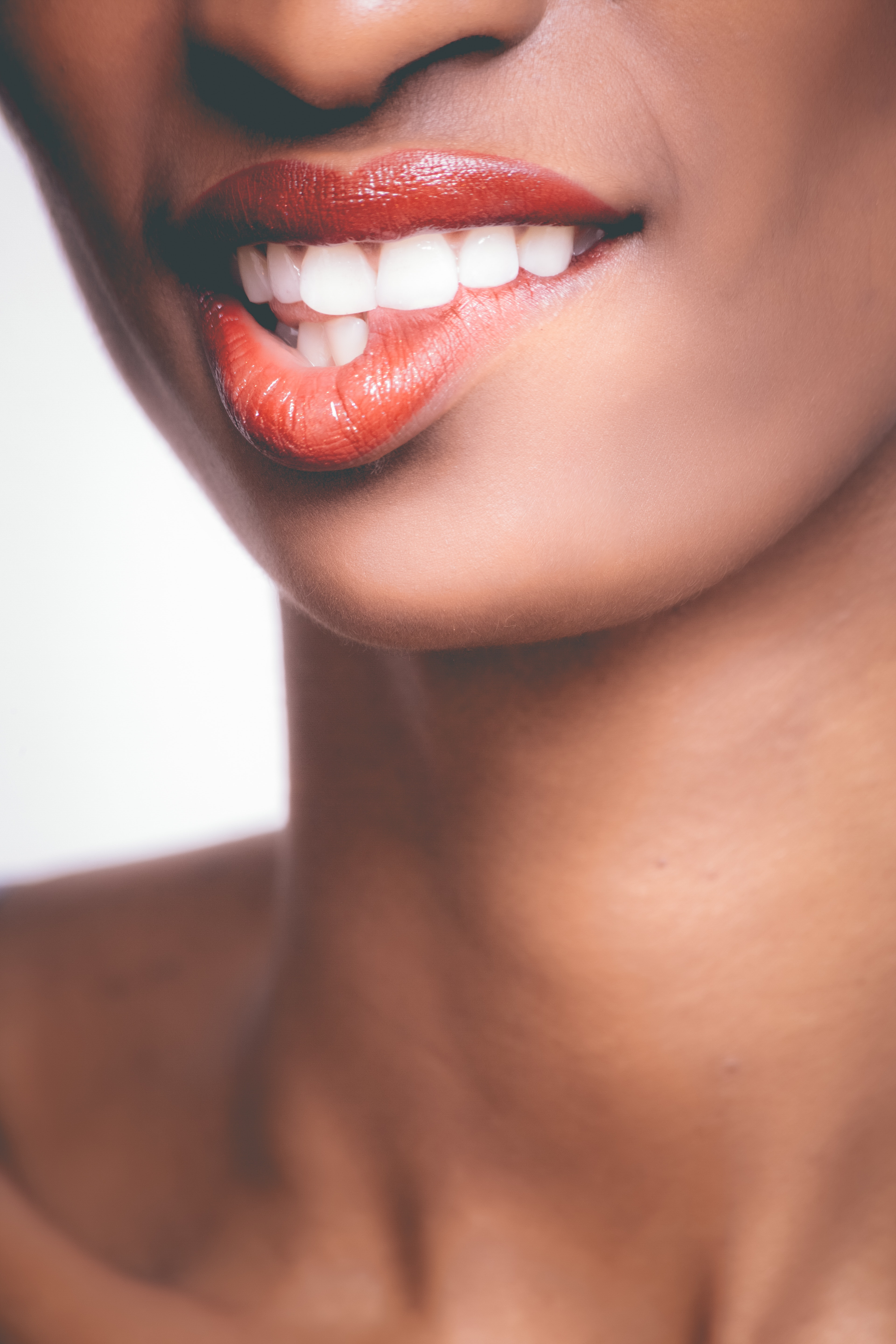 Photo of Person Biting It's Own Red Lips, Attractive, Posing, Nude, Person, HQ Photo