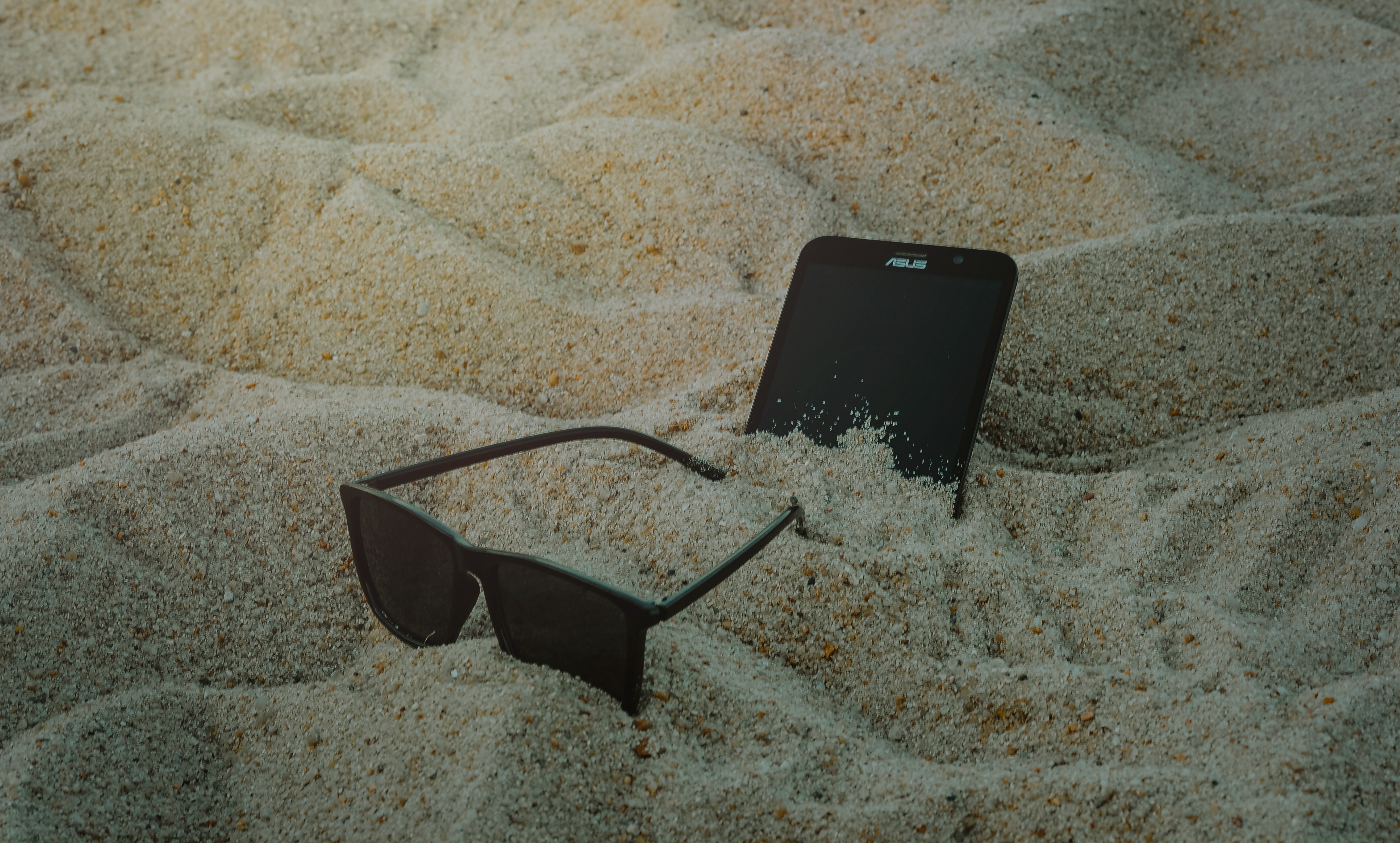 Photo of Phone and Sunglasses on Sand, Blur, Cellphone, Close-up, Focus, HQ Photo