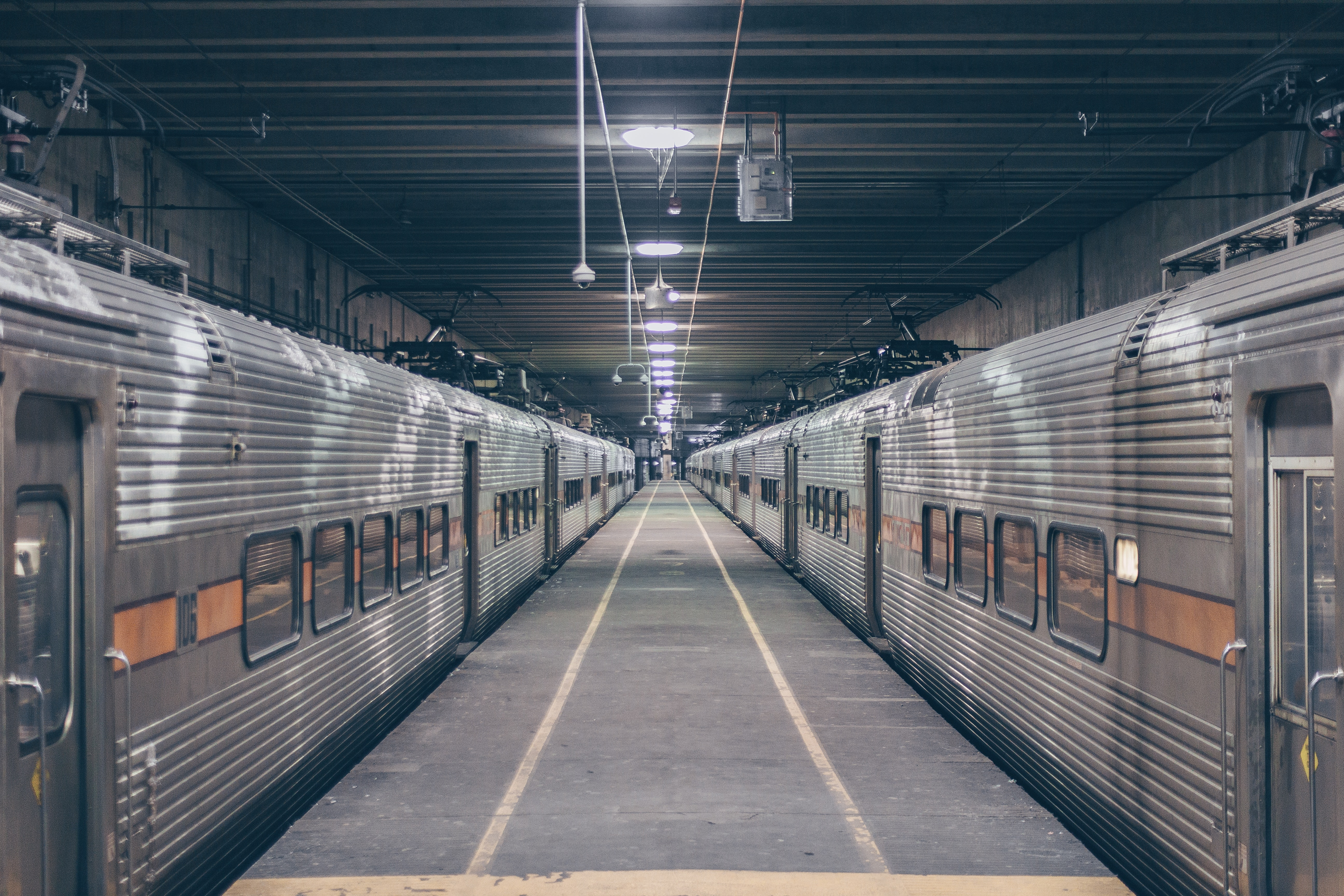 Photo Of Two Grey Trains In Station, Public transportation, Railway, Railway station, Station, HQ Photo