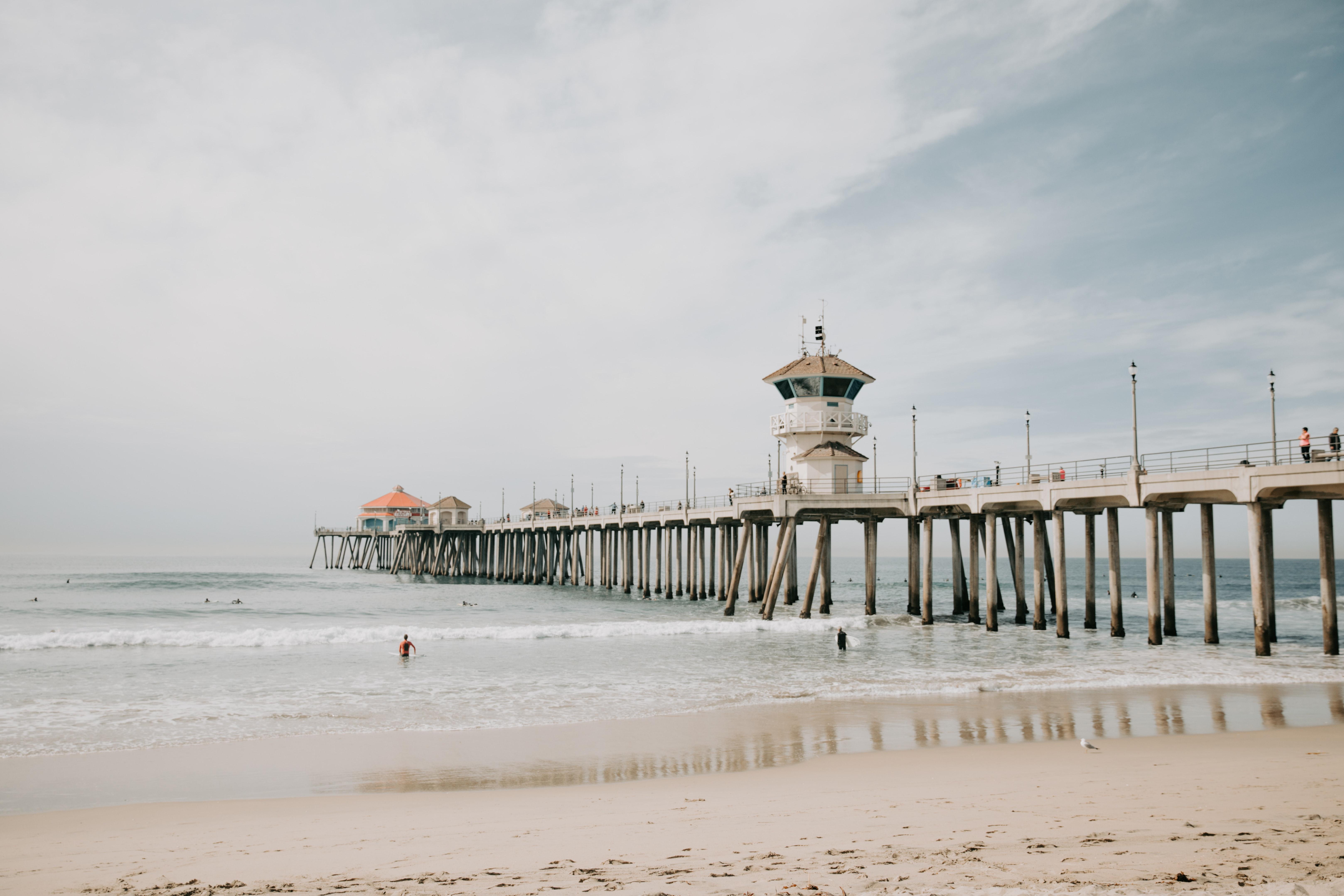 Photo of White Concrete Dock Bridge on Ocean, Seashore, Seascape, Scenic, Tranquil, HQ Photo