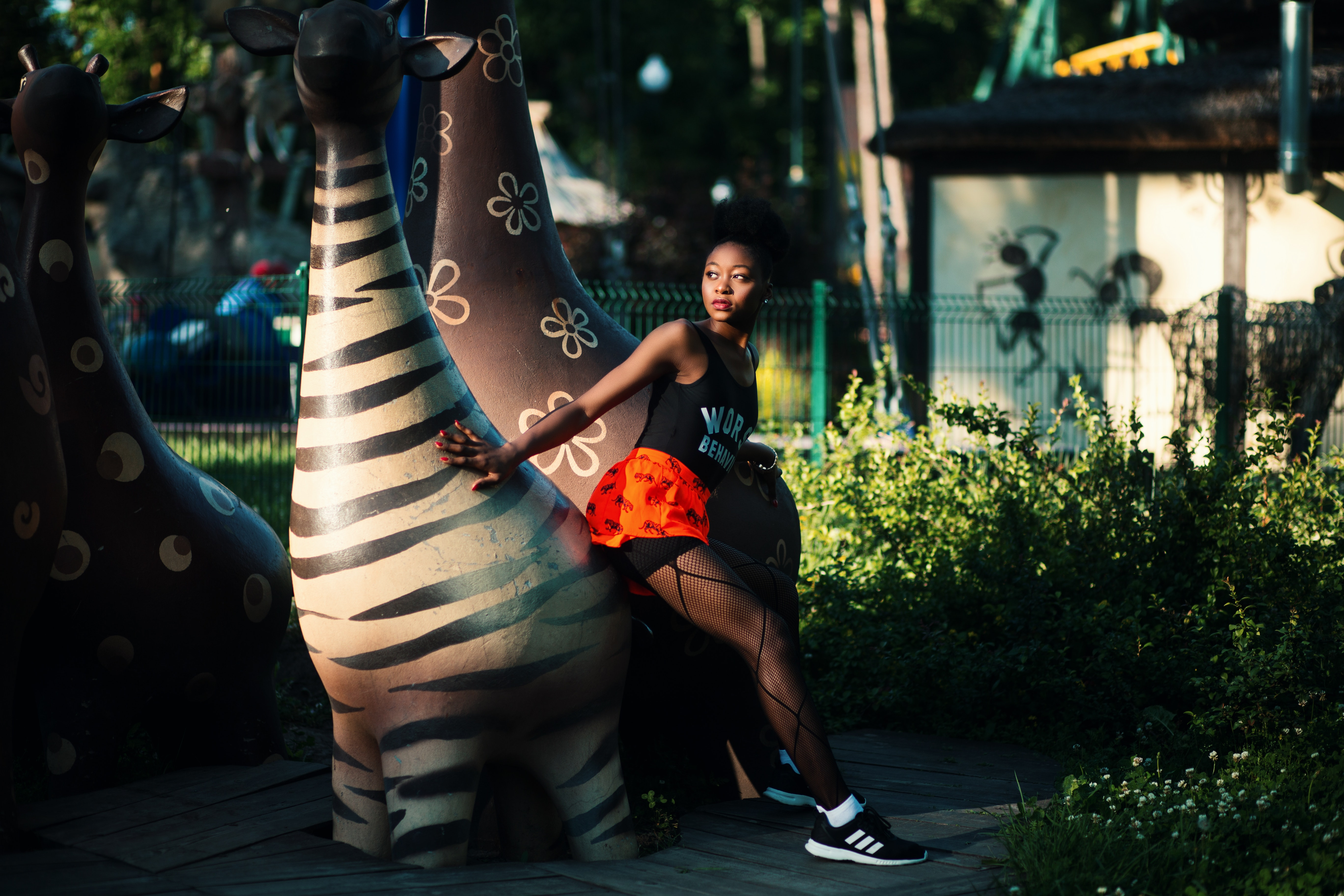 Photo of Woman Beside Zebra Statue, Recreation, Nature, Outdoors, Park, HQ Photo
