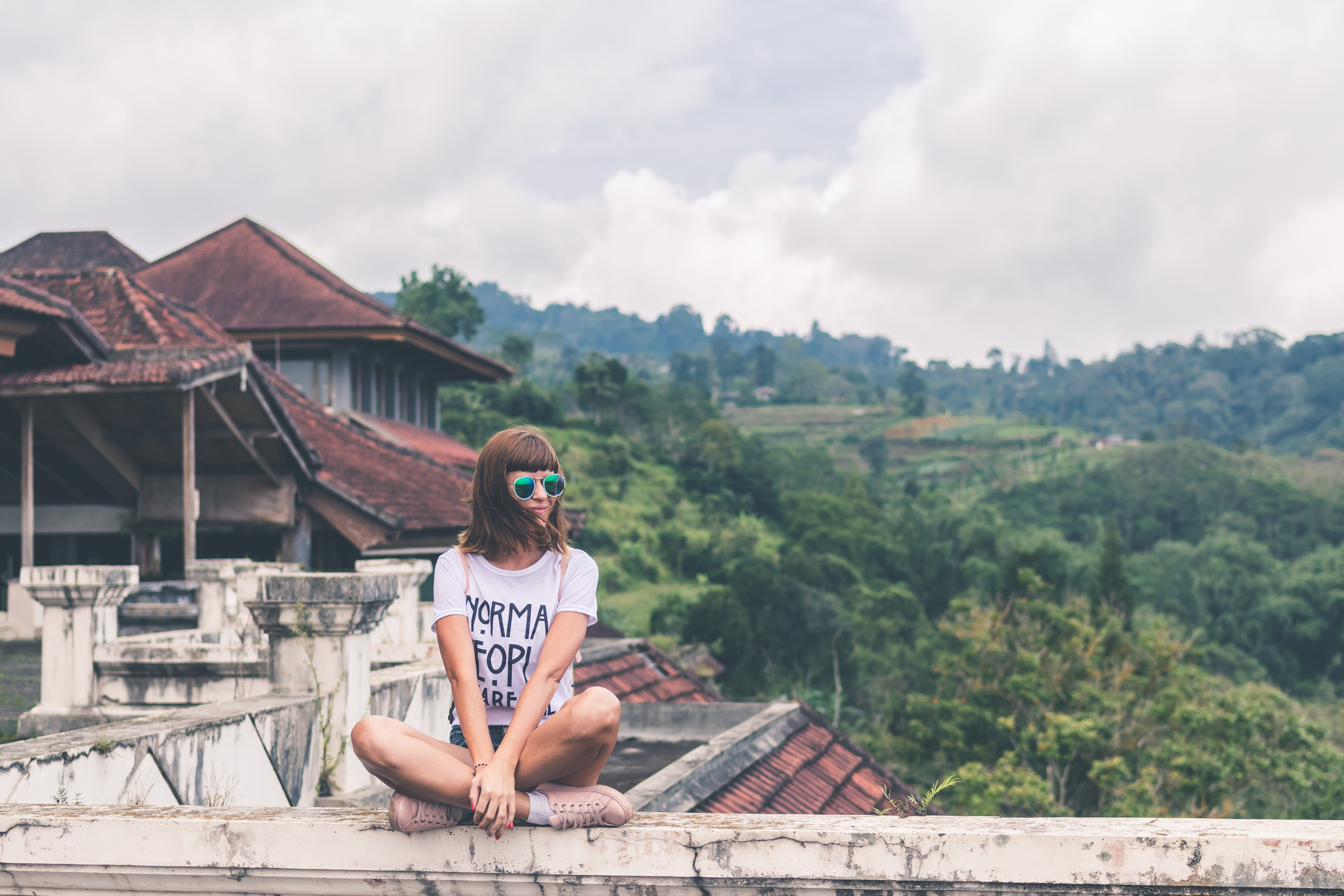 Photo of Woman Sitting on Concrete Balustrade, Tourist, Person, Relax, Roof, HQ Photo